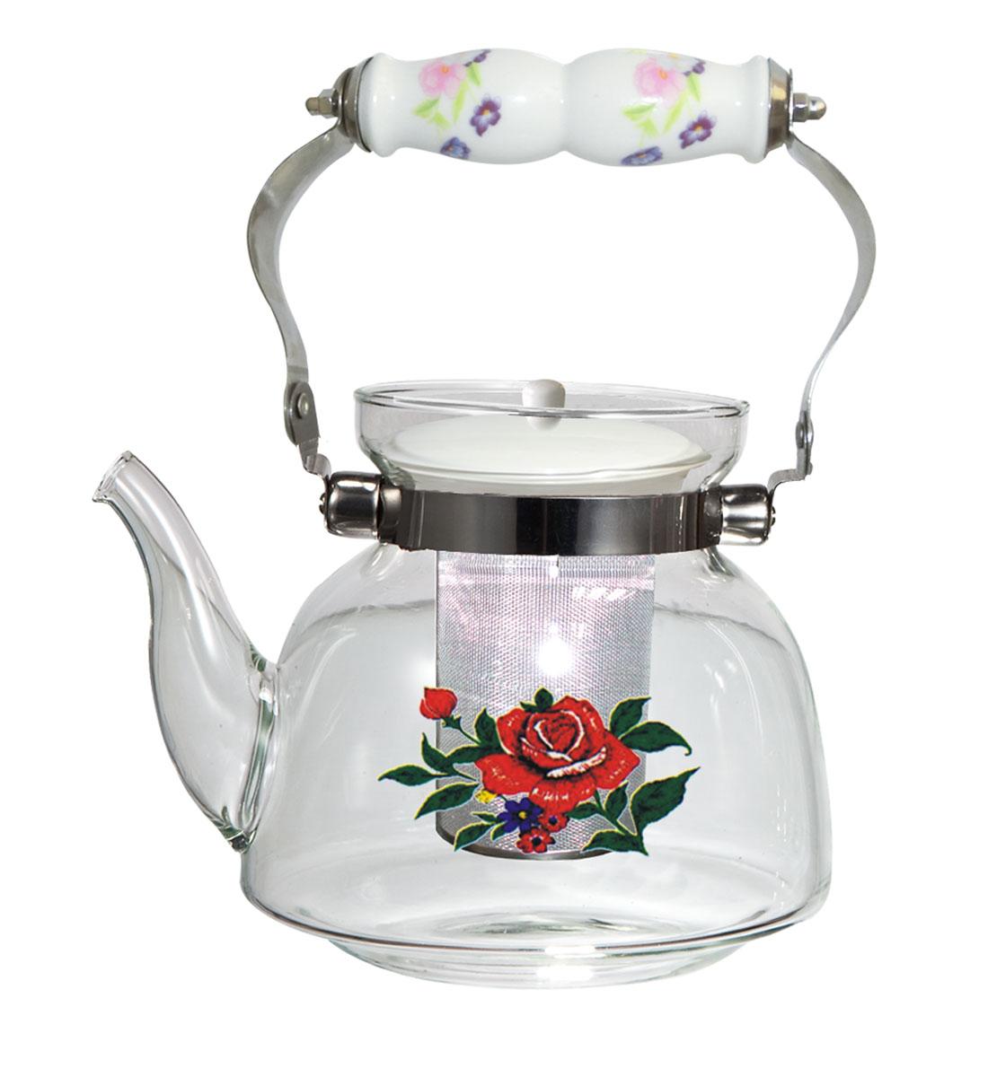 Чайник заварочный Bekker Premium с ситечком, 1,2 лBK-7612Заварочный чайник Bekker Premium выполнен из высококачественного жаропрочного стекла. Красочное изображение розы придает приятный внешний вид. Стальная подвижная ручка с керамической вставкой делает использование чайника очень удобным и безопасным. Чайник снабжен ситечком из нержавеющей стали и керамической крышкой. Можно мыть в посудомоечной машине. Объем: 1,2 л. Высота чайника (без учета крышки и ручки): 13 см. Диаметр (по верхнему краю): 9,7 см. Диаметр основания: 13 см.