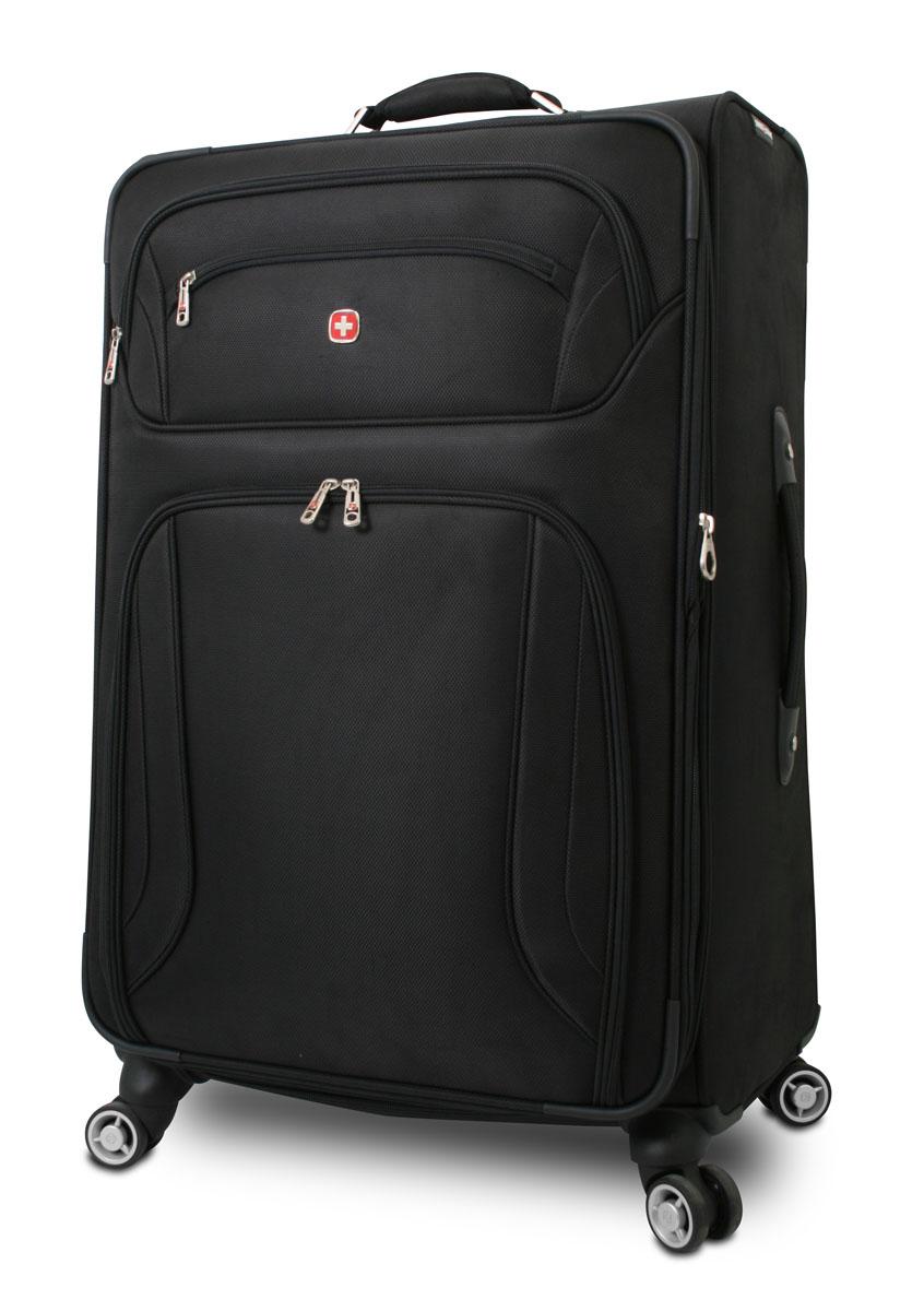 Чемодан Wenger Zurich II, цвет: черный, 48 см x 30 см x 72 см, 104 л7895202177Wenger Zurich II отличает эргономичность, высокое качество и стильный дизайн. Прочный и удобный в использовании, чемодан прекрасно подойдет для деловых и туристических поездок. В производстве чемодана использован высококачественный износоустойчивый полиэстер толщиной 400 x 350 денье. Модель оснащена прочной фурнитурой, произведенной из оцинкованного металла. Легкая управляемость багажом обеспечивается системой 8 колес, способных вращаться на 360°. Особенности чемодана: Высокая мобильность и легкость в управлении обеспечивается 8 колесами, вращающимися на 360°. Алюминиевая телескопическая ручка с фиксатором гарантирует исключительное удобство в управлении чемоданом. Сетчатый карман на молнии для мелких предметов. Регулируемые ремни для фиксации багажа. Съемный несессер. Встроенный отсек для именной карточки. Увеличение вместимости: чемодан может быть дополнительно расширен на 5 см. По всем вопросам гарантийного и...