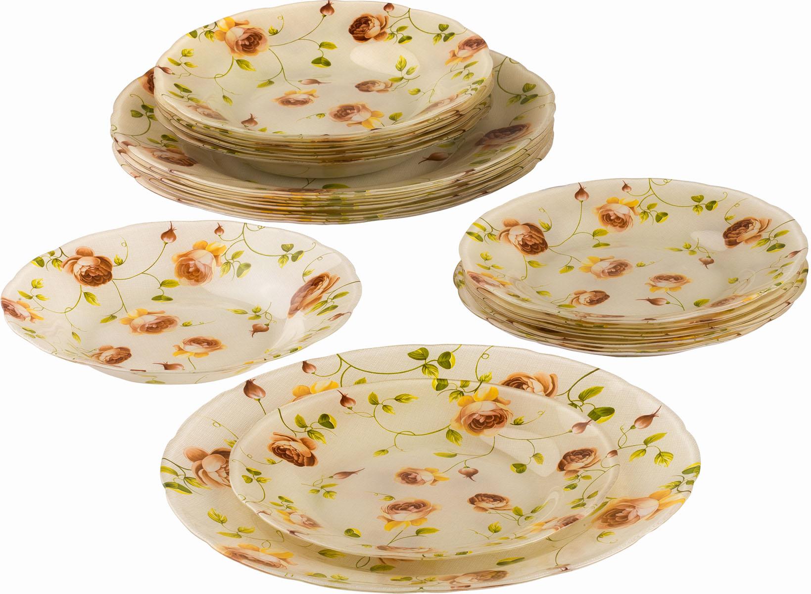 Сервиз обеденный Bekker Koch, 18 предметов. BK-9907BK-9907Обеденный сервиз Bekker Koch, изготовленный из высококачественного стекла, состоит из 6 суповых тарелок, 6 обеденных тарелок и 6 десертных тарелок. Изделия декорированы ярким изображением цветов. Такой сервиз придется по вкусу любителям классики, и тем, кто предпочитает утонченность и изысканность. Набор эффектно украсит стол к обеду, а также прекрасно подойдет для торжественных случаев. Не рекомендуется мыть в посудомоечной машине.