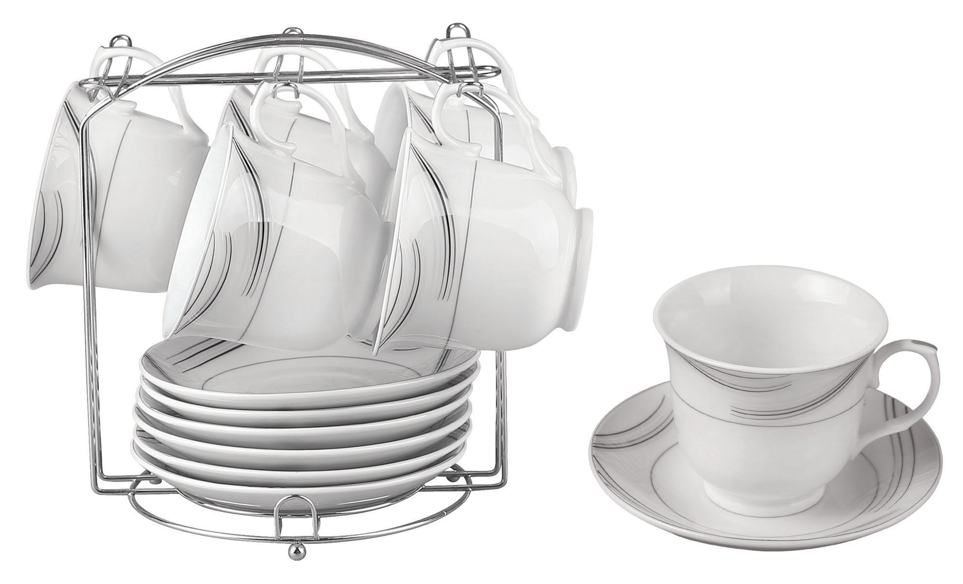 Набор чайный Bekker, 13 предметов. BK-6803 (8)BK-6803 (8)Чайный набор Bekker состоит из 6 чашек, 6 блюдец и металлической подставки. Изделия выполнены из высококачественного фарфора белого цвета, украшенного изящными узорами серебристой эмалью. Для предметов набора предусмотрена специальная металлическая подставка с крючками для чашек и подставкой для блюдец. Изящный чайный набор прекрасно оформит стол к чаепитию и станет замечательным подарком для любой хозяйки. Можно мыть в посудомоечной машине. Объем чашки: 220 мл. Диаметр чашки (по верхнему краю): 9 см. Высота чашки: 7,5 см. Диаметр блюдца: 14 см.