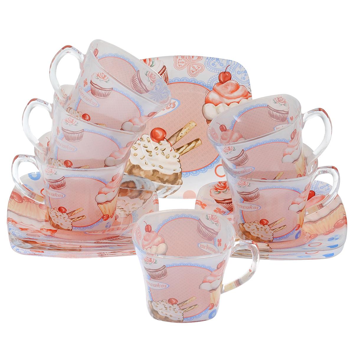Набор посуды Кексы, 12 предметов10301Набор посуды состоит из 6 блюдец и 6 чашек. Изделия выполнены из высококачественного стекла и оформлены изображением кексов. Этот набор эффектно украсит стол, а также прекрасно подойдет для торжественных случаев. Красочность оформления придется по вкусу и ценителям классики, и тем, кто предпочитает утонченность и изящность.