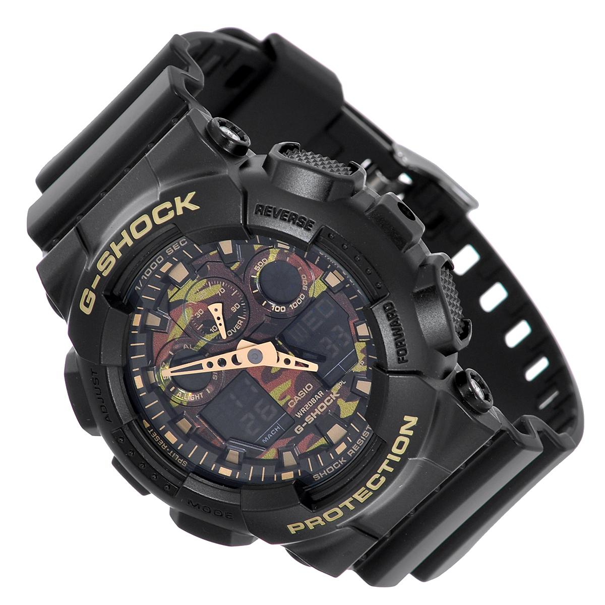 Часы мужские наручные Casio G-Shock, цвет: черный, хаки. GA-100CF-1A9GA-100CF-1A9Стильные кварцевые часы G-Shock от японского брэнда Casio - это яркий функциональный аксессуар для современных людей, которые стремятся выделиться из толпы и подчеркнуть свою индивидуальность. Часы выполнены в спортивном стиле. Корпус имеет ударопрочную конструкцию, защищающую механизм от ударов и вибрации. Циферблат с отметками и двумя стрелками подсвечивается светодиодом. Функция автоподсветки освещает циферблат при повороте часов к лицу. Ремешок из пластика имеет классическую застежку. Основные функции: - 5 будильников, один из которых с функцией Snooze, ежечасный сигнал; - автоматический календарь (число, месяц, день недели, год); - секундомер с точностью показаний 1/1000 с и временем измерения 100 ч; - 12-ти и 24-х часовой формат времени; - таймер обратного отсчета от 1 мин до 24 ч с автоповтором; - мировое время; - сплит-хронограф; - защита от магнитных полей; ...