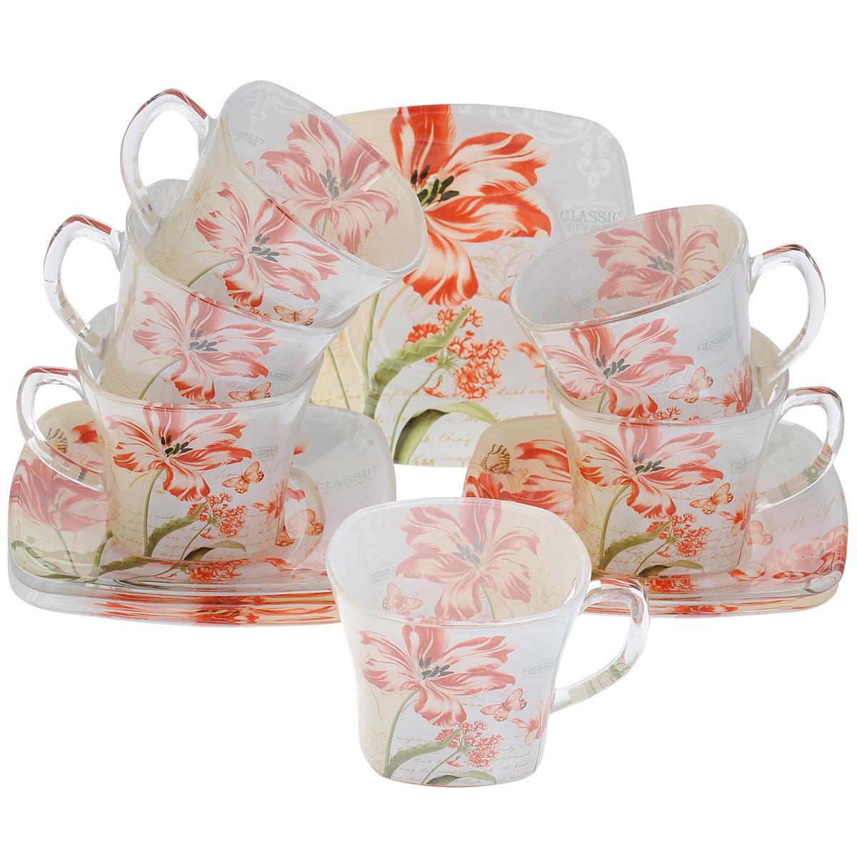 Набор посуды Красные цветы, 12 предметов11605Набор посуды состоит из 6 блюдец и 6 чашек. Изделия выполнены из высококачественного стекла и оформлены изображением цветов и бабочек. Этот набор эффектно украсит стол, а также прекрасно подойдет для торжественных случаев. Красочность оформления придется по вкусу и ценителям классики, и тем, кто предпочитает утонченность и изящность.