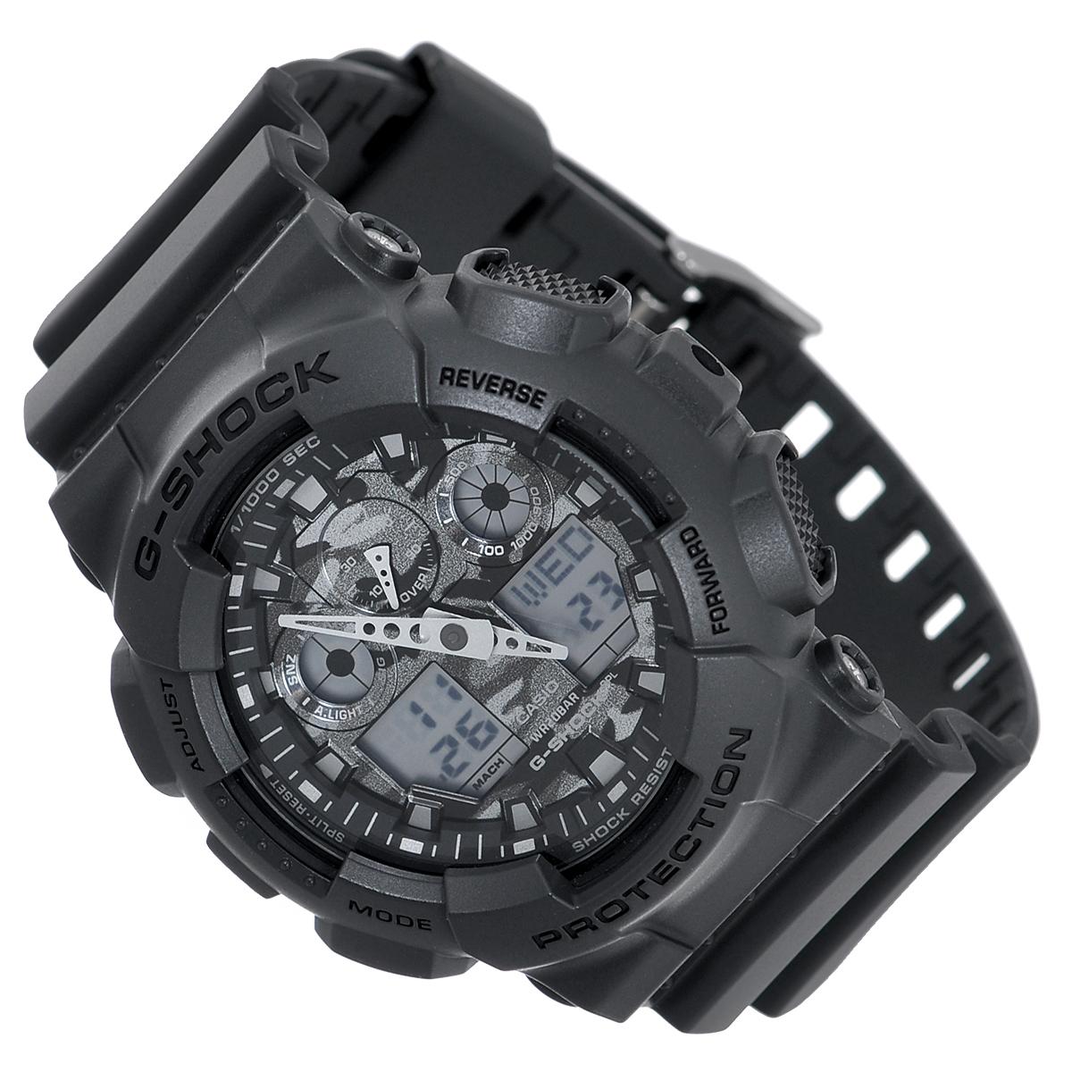 Часы мужские наручные Casio G-Shock, цвет: темно-серый. GA-100CF-8AGA-100CF-8AСтильные кварцевые часы G-Shock от японского брэнда Casio - это яркий функциональный аксессуар для современных людей, которые стремятся выделиться из толпы и подчеркнуть свою индивидуальность. Часы выполнены в спортивном стиле. Корпус имеет ударопрочную конструкцию, защищающую механизм от ударов и вибрации. Циферблат с отметками и двумя стрелками подсвечивается светодиодом. Функция автоподсветки освещает циферблат при повороте часов к лицу. Ремешок из пластика имеет классическую застежку. Основные функции: - 5 будильников, один из которых с функцией Snooze, ежечасный сигнал; - автоматический календарь (число, месяц, день недели, год); - секундомер с точностью показаний 1/1000 с и временем измерения 100 ч; - 12-ти и 24-х часовой формат времени; - таймер обратного отсчета от 1 мин до 24 ч с автоповтором; - мировое время; - сплит-хронограф; - защита от магнитных полей; ...