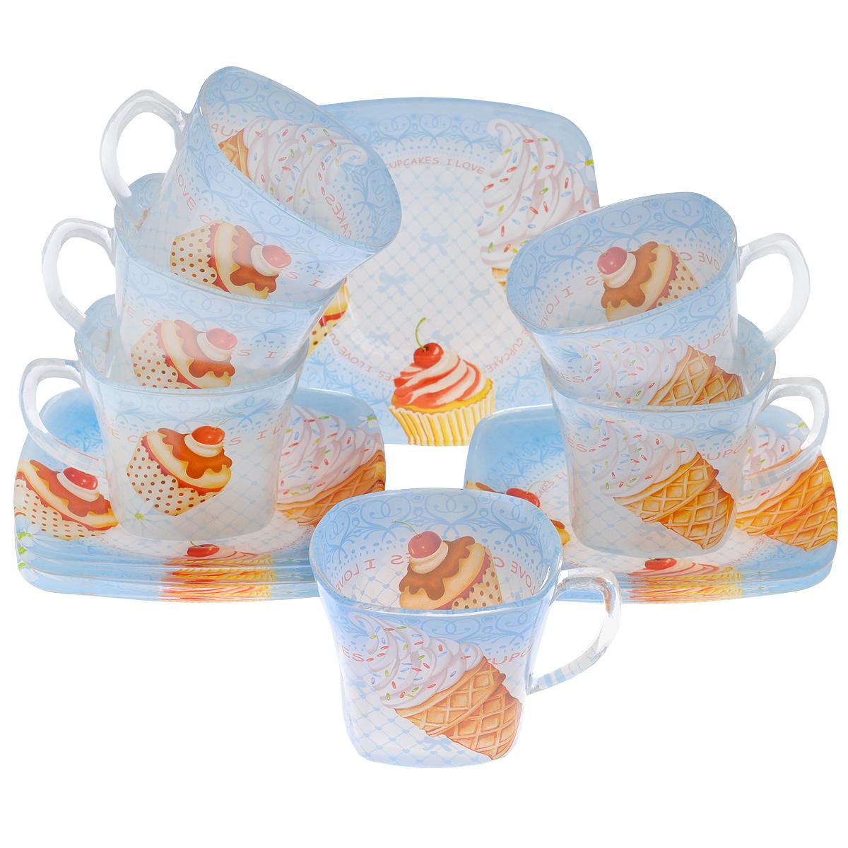 Набор посуды Сладости, 12 предметов10304Набор посуды состоит из 6 блюдец и 6 чашек. Изделия выполнены из высококачественного стекла и оформлены изображением кексов и мороженного. Этот набор эффектно украсит стол, а также прекрасно подойдет для торжественных случаев. Красочность оформления придется по вкусу и ценителям классики, и тем, кто предпочитает утонченность и изящность.