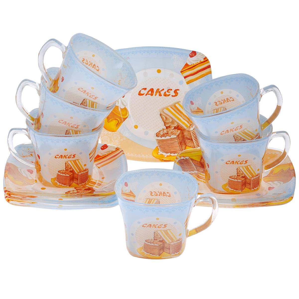 Набор посуды Сладкие кексы, 12 предметов10300Набор посуды состоит из 6 блюдец и 6 чашек. Изделия выполнены из высококачественного стекла и оформлены изображением кексов и других сладостей. Этот набор эффектно украсит стол, а также прекрасно подойдет для торжественных случаев. Красочность оформления придется по вкусу и ценителям классики, и тем, кто предпочитает утонченность и изящность.