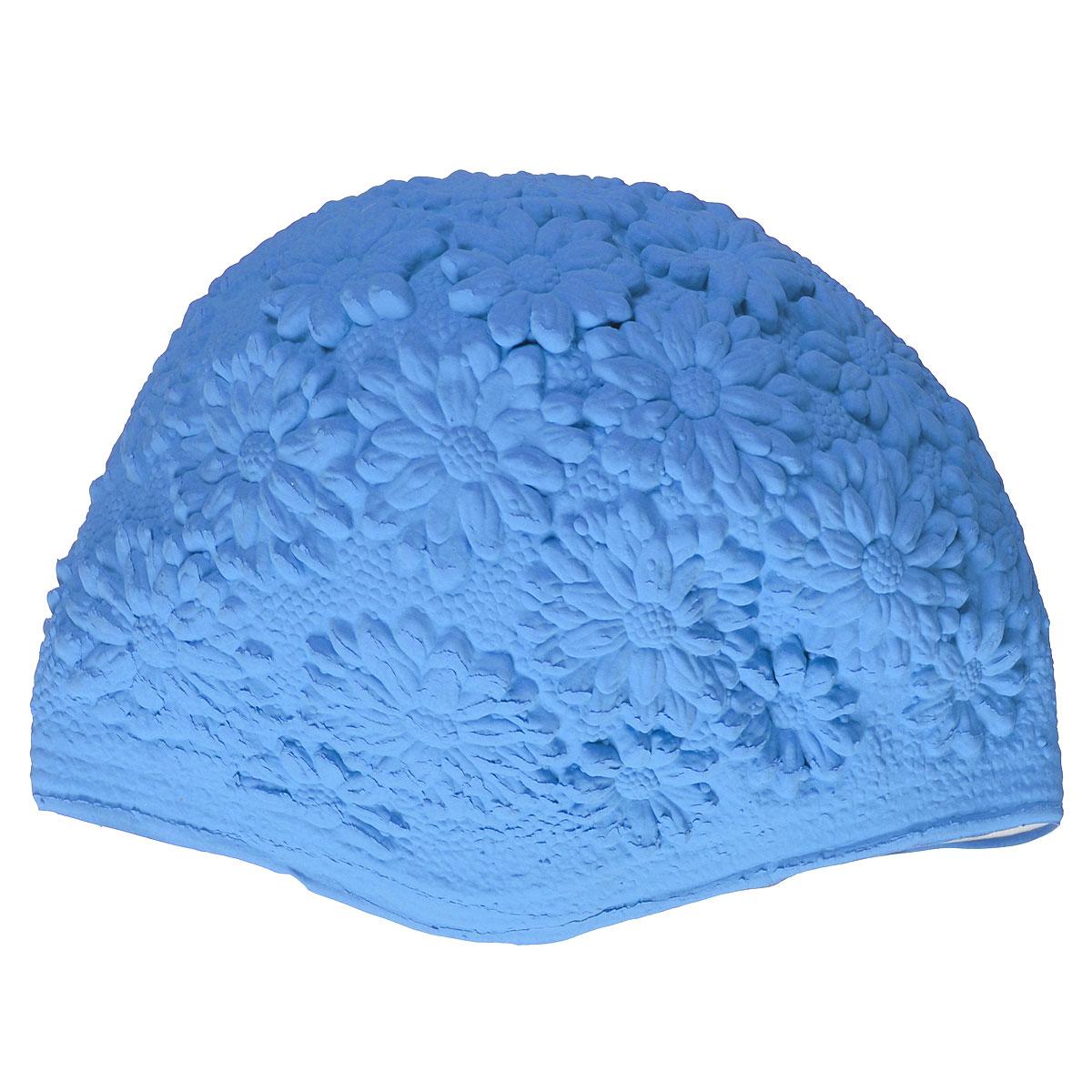 Шапочка для плавания MadWave Hawaii Chrysanthemum, женская, цвет: голубойM0517 02 0 09WЛатексная шапочка для плавания MadWave Hawaii Chrysanthemum декорирована цветочным рельефом. Имеет превосходную эластичность и высокий уровень комфорта. Высококачественный материал обеспечивает долгий срок службы. Пузырьковая поверхность уменьшает площадь соприкосновения с волосами. Обхват головы: 53 см.