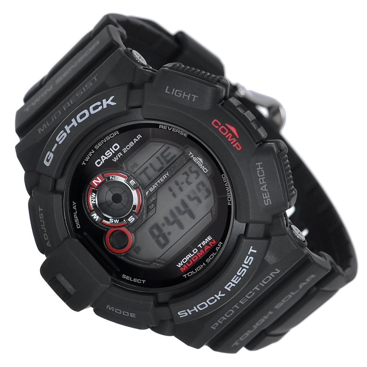 Часы мужские наручные Casio G-Shock, цвет: черный. G-9300-1EG-9300-1EСтильные кварцевые часы G-Shock от японского брэнда Casio - это яркий функциональный аксессуар для современных людей, которые стремятся выделиться из толпы и подчеркнуть свою индивидуальность. Часы выполнены в спортивном стиле. Корпус имеет ударопрочную конструкцию, защищающую механизм от ударов и вибрации. Циферблат подсвечивается электролюминесцентной подсветкой. Подсветка активируется при недостаточном свете и выключается, когда освещения достаточно. Ремешок из пластика имеет классическую застежку. Основные функции: - 5 будильников, один с функцией Snooze, ежечасный сигнал; - автоматический календарь (число, месяц, день недели, год); - секундомер с точностью показаний 1/100 с и временем измерения 1000 ч; - мировое время; - таймер обратного отсчета от 1 мин до 24 ч с автоповтором; - 12-ти и 24-х часовой формат времени; - защита от попадания внутрь пыли и грязи; - ...