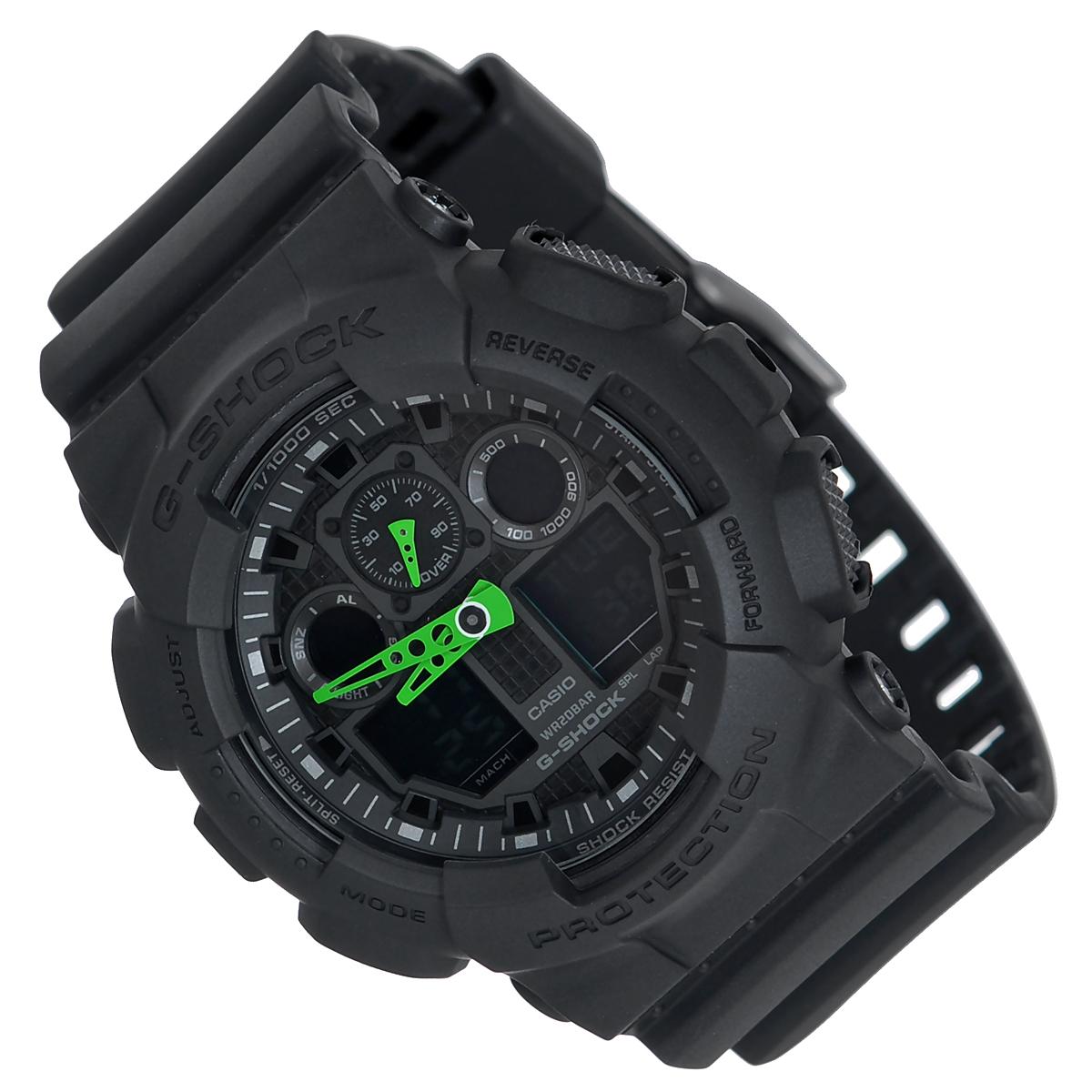 Часы мужские наручные Casio G-Shock, цвет: черный. GA-100C-1A3GA-100C-1A3Стильные часы G-Shock от японского брэнда Casio - это яркий функциональный аксессуар для современных людей, которые стремятся выделиться из толпы и подчеркнуть свою индивидуальность. Часы выполнены в спортивном стиле. Корпус имеет ударопрочную конструкцию, защищающую механизм от ударов и вибрации. Циферблат подсвечивается светодиодной автоматической подсветкой. Функция автоподсветки освещает циферблат при повороте часов к лицу. Ремешок из мягкого пластика имеет классическую застежку. Основные функции: - 5 будильников, один с функцией Snooze, ежечасный сигнал; - автоматический календарь (число, месяц, день недели, год); - сплит-хронограф; - измерение скорости и расстояния; - секундомер с точностью показаний 1/1000 с, время измерения 100 часов; - 12-ти и 24-х часовой формат времени; - таймер обратного отсчета от 1 мин до 24 ч с автоповтором; - мировое время. ...
