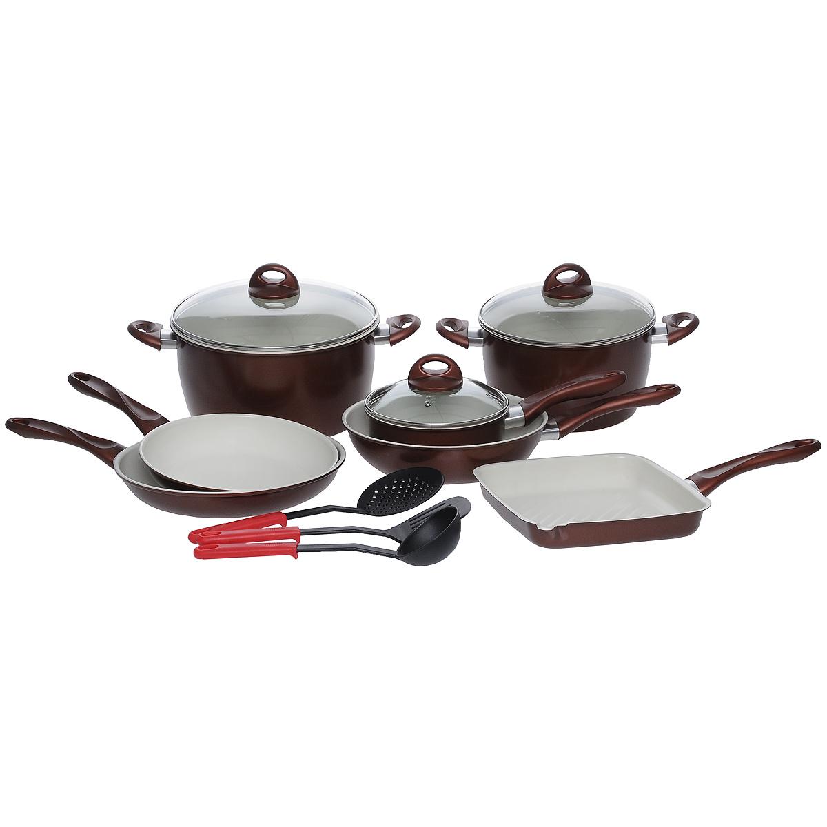 Набор посуды Bradex Кросс, с керамическим покрытием, 10 предметовTK 0043Набор посуды Bradex Кросс состоит из сковороды с крышкой, сковороды, сковороды-вок, ковша с крышкой, сковороды-гриллер, кастрюли, кастрюли с крышкой, лопатки, половника и шумовки. Изделия серии Кросс выполнены из высококачественной углеродистой стали и покрыты прочным слоем керамики. Пища в такой посуде не пригорает и не выделяет при этом вредные химические соединения. Посуда устойчива к механическим повреждениям, способна выдерживать высокие температуры, а также аккумулирует тепло и тем самым ускоряет процесс приготовления блюд. Усиленное керамическое покрытие обладает антипригарными свойствами и позволяет готовить с использованием минимального количества масла. Качество и экологичность материалов способствуют сохранению всех витаминов в продуктах даже в процессе их обработки, а износостойкое керамическое покрытие продлевает срок службы изделия и не требует к тому же специального ухода. Посуда оснащена удобными бакелитовыми ручками с прорезиненным покрытием и...