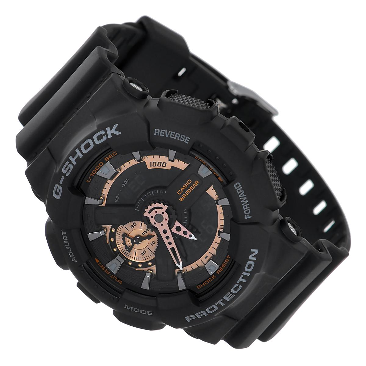 Часы мужские наручные Casio G-Shock, цвет: черный. GA-110RG-1AGA-110RG-1AСтильные часы G-Shock от японского брэнда Casio - это яркий функциональный аксессуар для современных людей, которые стремятся выделиться из толпы и подчеркнуть свою индивидуальность. Часы выполнены в спортивном стиле. Корпус имеет ударопрочную конструкцию, защищающую механизм от ударов и вибрации. Циферблат подсвечивается светодиодом, функция автоподсветки освещает циферблат при повороте часов к лицу. Ремешок из мягкого пластика имеет классическую застежку. Основные функции: - 5 будильников, один с функцией повтора сигнала (чтобы отложить пробуждение), ежечасный сигнал; - автоматический календарь (число, месяц, день недели, год); - секундомер с точностью показаний 1/1000 с, время измерения 100 часов; - 12-ти и 24-х часовой формат времени; - таймер обратного отсчета от 1 мин до 24 ч с автоповтором; - мировое время; - сплит-хронограф; - защита от магнитных полей. ...