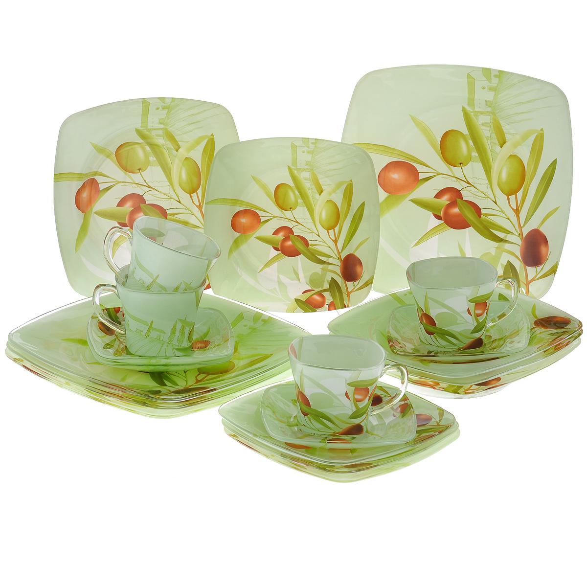 Набор посуды Оливки, 20 предметов10151-20Набор посуды состоит из 4 чашек, 4 блюдец, 4 тарелок для супа, 4 обеденных тарелок, 4 десертных тарелок. Изделия выполнены из высококачественного стекла и оформлены изображением веток с оливками. Этот набор эффектно украсит стол к обеду, а также прекрасно подойдет для торжественных случаев. Красочность оформления придется по вкусу и ценителям классики, и тем, кто предпочитает утонченность и изящность.