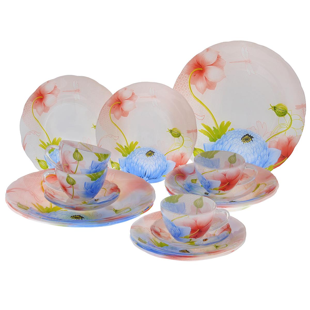 Набор посуды Кувшинки, 20 предметов10053Набор посуды состоит из 4 чашек, 4 блюдец, 4 тарелок для супа, 4 обеденных тарелок, 4 десертных тарелок. Изделия выполнены из высококачественного стекла и оформлены изображением кувшинок и стрекоз. Этот набор эффектно украсит стол к обеду, а также прекрасно подойдет для торжественных случаев. Красочность оформления придется по вкусу и ценителям классики, и тем, кто предпочитает утонченность и изящность. Можно мыть в посудомоечной машине.