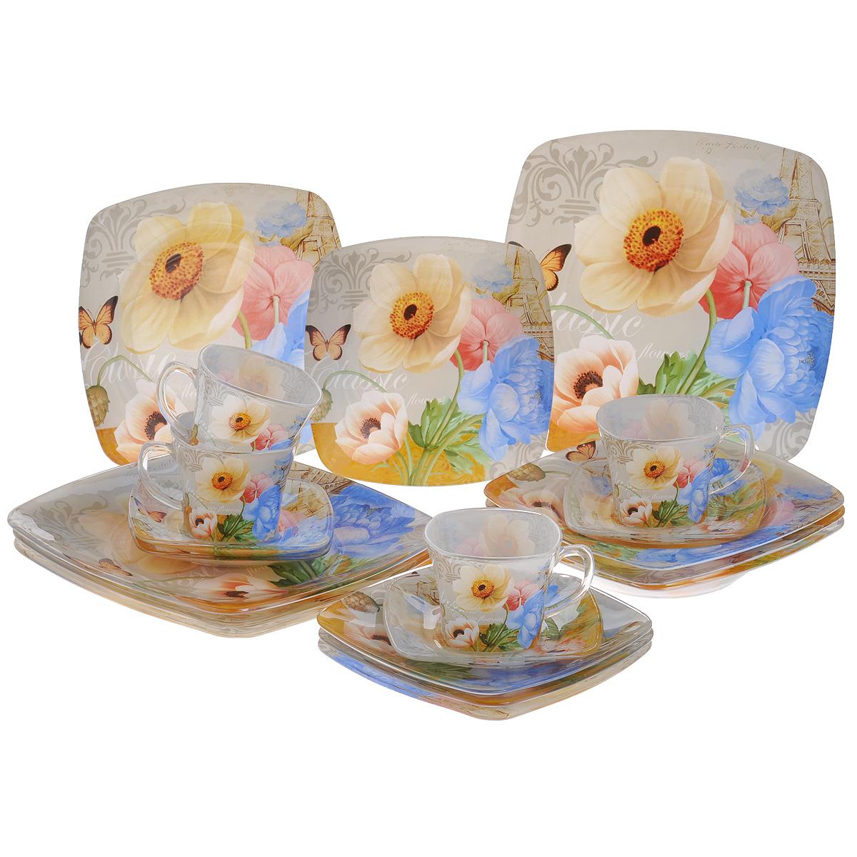 Набор посуды Цветы, 20 предметов11606-20Набор посуды состоит из 4 чашек, 4 блюдец, 4 тарелок для супа, 4 обеденных тарелок, 4 десертных тарелок. Изделия выполнены из высококачественного стекла и оформлены изображением цветов. Этот набор эффектно украсит стол к обеду, а также прекрасно подойдет для торжественных случаев. Красочность оформления придется по вкусу и ценителям классики, и тем, кто предпочитает утонченность и изящность. Набор можно мыть в посудомоечной машине.