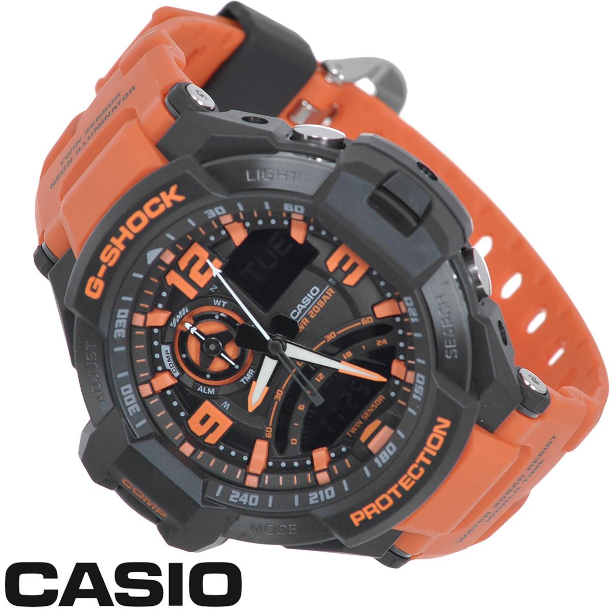 Часы мужские наручные Casio G-Shock, цвет: черный, оранжевый. GA-1000-4AGA-1000-4AСтильные часы G-Shock от японского брэнда Casio - это яркий функциональный аксессуар для современных людей, которые стремятся выделиться из толпы и подчеркнуть свою индивидуальность. Часы выполнены в спортивном стиле. Корпус имеет ударопрочную конструкцию, защищающую механизм от ударов и вибрации. Циферблат со стальным безелем подсвечивается светодиодной автоподсветкой с флюорисцентным напылением на стрелках и дисплее. При повороте часов в сторону лица подсветка дисплея осуществляется автоматически. Светонакопительное покрытие Neobrite продолжает светиться в темноте даже после непродолжительного пребывания на свету. Ремешок из мягкого пластика имеет классическую застежку. Основные функции: - 5 будильников, один с функцией повтора сигнала (чтобы отложить пробуждение), ежечасный сигнал; - автоматический календарь (число, месяц, день недели, год); - встроенный цифровой компас; - термометр от -10° до +60°С с точностью 0,1°C; ...