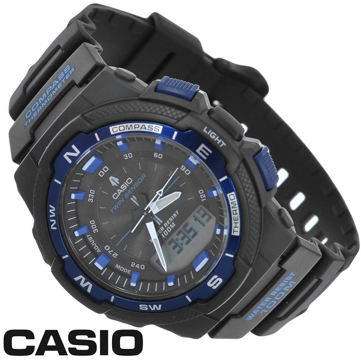 Часы мужские наручные Casio, цвет: черный, синий. SGW-500H-2BSGW-500H-2BСтильные многофункциональные часы от японского брэнда Casio - это яркий функциональный аксессуар для современных людей, которые стремятся выделиться из толпы и подчеркнуть свою индивидуальность. Часы выполнены в спортивном стиле. Электронные часы оснащены японским кварцевым механизмом. Корпус часов изготовлен из пластика и имеет алюминиевый безель. Циферблат оснащен тремя стрелками и подсвечивается светодиодом. Ремешок из пластика имеет классическую застежку. Основные функции: - 5 будильников, ежечасный сигнал; - встроенный датчик температур от -10° до +60°С с точностью 0,1°C; - автоматический календарь (число, месяц, день недели, год); - встроенный цифровой компас; - секундомер с точностью показаний 1/100 с, время измерения 24 ч; - 12-ти и 24-х часовой формат времени; - таймер обратного отсчета от 1 мин до 100 мин; - функция включения/отключения звука; - ...
