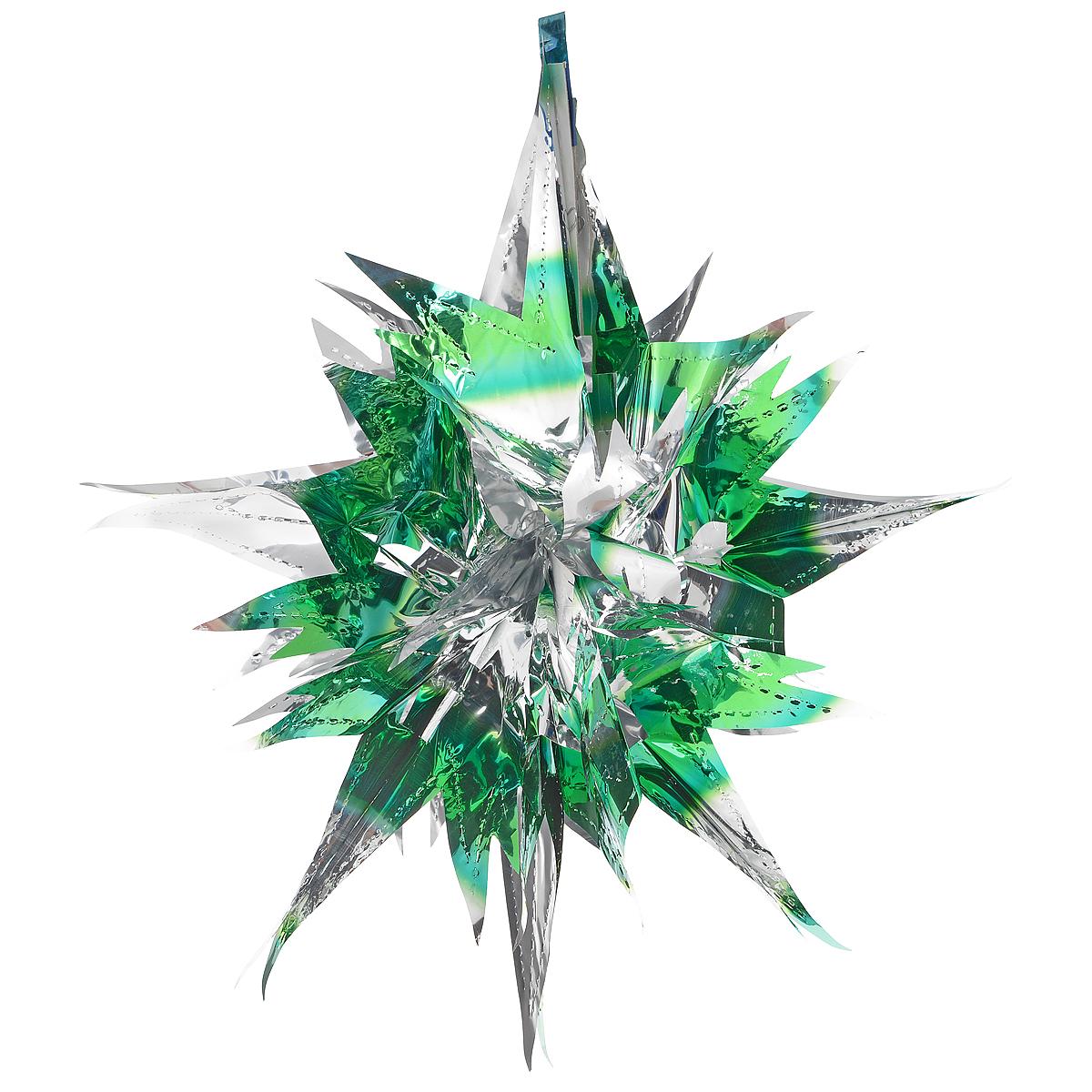 Новогоднее подвесное украшение Звезда, цвет: серебристый, зеленый. 2700927009Новогоднее украшение Звезда отлично подойдет для декорации вашего дома и новогодней ели. Украшение выполнено из ПВХ в форме многогранной многоцветной звезды. С помощью специальной петельки звезду можно повесить в любом понравившемся вам месте. Украшение легко складывается и раскладывается благодаря металлическим кольцам. Новогодние украшения несут в себе волшебство и красоту праздника. Они помогут вам украсить дом к предстоящим праздникам и оживить интерьер по вашему вкусу. Создайте в доме атмосферу тепла, веселья и радости, украшая его всей семьей. Коллекция декоративных украшений из серии Magic Time принесет в ваш дом ни с чем не сравнимое ощущение волшебства! Размер украшения (в сложенном виде): 25 см х 21,5 см.