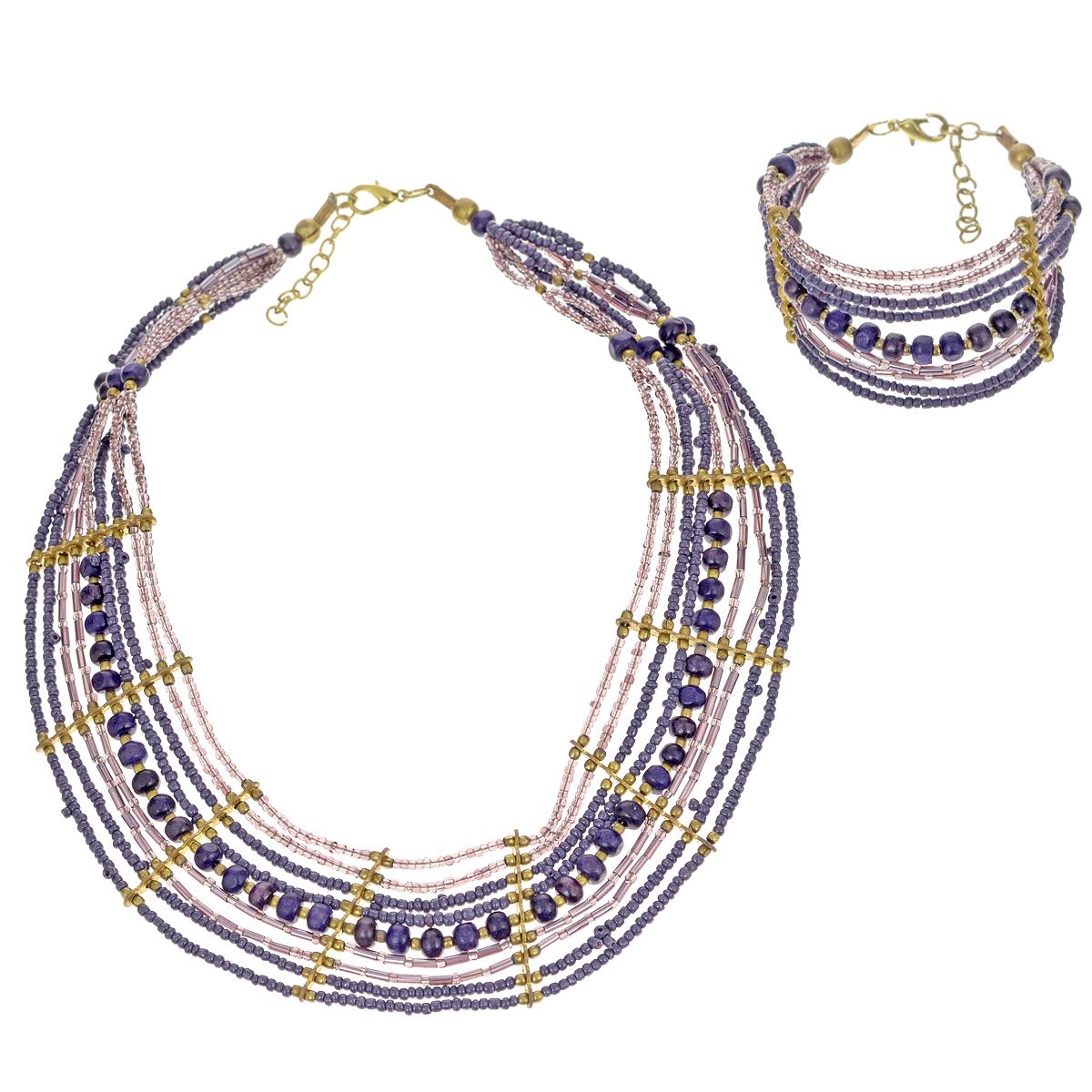 Комплект украшений Ethnica: бусы, браслет, цвет: фиолетовый. 2213522135Стильный комплект украшений Ethnica, состоящий из бус и браслета, выполнен из металла. Каждое изделие состоит из девяти нитей, на которые нанизаны бусины и бисер разных форм и цветов, выполненные из дерева, пластика и металла. Нити скреплены декоративными скобами: на бусах - восьмью, на браслете - двумя. И бусы, и браслет застегиваются при помощи удобного замка-карабина. Длина обоих изделий регулируется за счет цепочки. Этот оригинальный комплект украшений позволит вам подчеркнуть свою индивидуальность, а также отлично дополнит этнический образ.