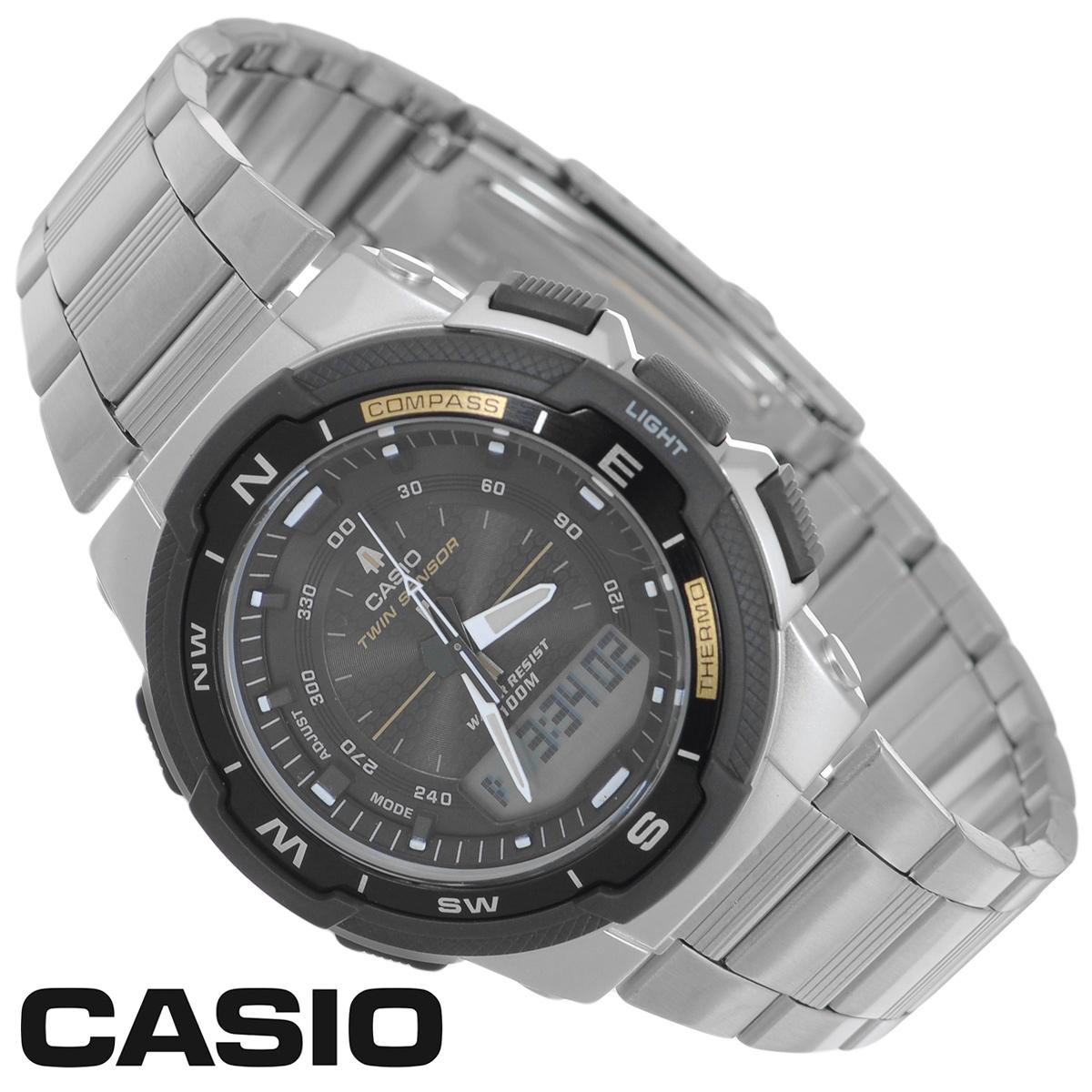 Часы мужские наручные Casio, цвет: серебристый. SGW-500HD-1BSGW-500HD-1BСтильные многофункциональные часы от японского брэнда Casio - это яркий функциональный аксессуар для современных людей, которые стремятся выделиться из толпы и подчеркнуть свою индивидуальность. Часы выполнены в спортивном стиле. Часы оснащены японским кварцевым механизмом. Корпус часов изготовлен из пластика и имеет алюминиевый безель. Циферблат оснащен тремя стрелками и подсвечивается светодиодом. Ремешок из стали оснащен раскладывающейся застежкой, расстегиваемой в одно касание. Основные функции: - 5 будильников, ежечасный сигнал; - встроенный датчик температур от -10° до +60°С с точностью 0,1°C; - автоматический календарь (число, месяц, день недели, год); - встроенный цифровой компас; - секундомер с точностью показаний 1/100 с, время измерения 24 ч; - 12-ти и 24-х часовой формат времени; - таймер обратного отсчета от 1 мин до 100 мин; - функция включения/отключения...