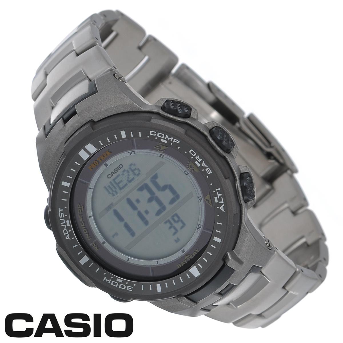 Часы мужские наручные Casio Protrek, цвет: титановый. PRW-3000T-7EPRW-3000T-7EСтильные кварцевые часы Protrek от японского брэнда Casio - это яркий функциональный аксессуар для современных людей, которые стремятся выделиться из толпы и подчеркнуть свою индивидуальность. Часы выполнены в спортивном стиле. Корпус выполнен из пластика и металлических элементов. Циферблат подсвечивается светодиодом, при недостаточном освещении во время поворота запястья в сторону лица подсветка включается автоматически. Браслет из титанового сплава имеет раскладывающуюся застежку, которая расстегивается одним касанием. Основные функции: - 5 будильников, один с функцией Snooze, ежечасный сигнал; - автоматический календарь (число, день недели, месяц, год); - секундомер с точностью показаний 1/10 с и временем измерения 1000 ч; - мировое время; - таймер обратного отсчета от 1 мин до 24 ч; - 12-ти и 24-х часовой формат времени; - встроенный цифровой компас; - функция...