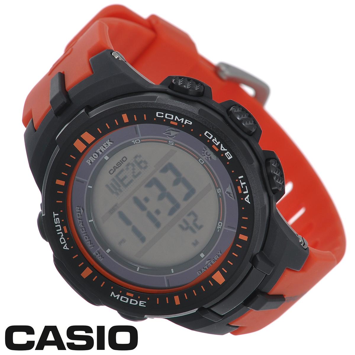 Часы мужские наручные Casio Protrek, цвет: оранжевый, темно-серый. PRW-3000-4EPRW-3000-4EСтильные кварцевые часы Protrek от японского брэнда Casio - это яркий функциональный аксессуар для современных людей, которые стремятся выделиться из толпы и подчеркнуть свою индивидуальность. Часы выполнены в спортивном стиле. Корпус выполнен из пластика и металлических элементов. Циферблат подсвечивается светодиодом, при недостаточном освещении во время поворота запястья в сторону лица подсветка включается автоматически. Ремешок из пластика имеет классическую застежку. Основные функции: - 5 будильников, один с функцией Snooze, ежечасный сигнал; - автоматический календарь (число, день недели, месяц, год); - секундомер с точностью показаний 1/10 с и временем измерения 1000 ч; - мировое время; - таймер обратного отсчета от 1 мин до 24 ч; - 12-ти и 24-х часовой формат времени; - встроенный цифровой компас; - функция автоматического сохранения энергии; - высотомер -...