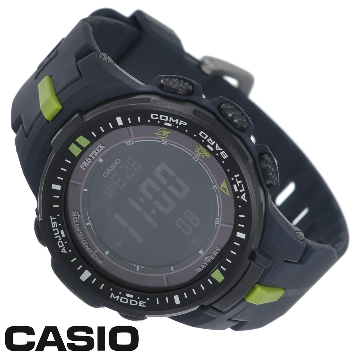 Часы мужские наручные Casio Protrek, цвет: темно-синий. PRW-3000-2EPRW-3000-2EСтильные кварцевые часы Protrek от японского брэнда Casio - это яркий функциональный аксессуар для современных людей, которые стремятся выделиться из толпы и подчеркнуть свою индивидуальность. Часы выполнены в спортивном стиле. Корпус выполнен из пластика и металлических элементов. Циферблат подсвечивается светодиодом, при недостаточном освещении во время поворота запястья в сторону лица подсветка включается автоматически. Ремешок из пластика имеет классическую застежку. Основные функции: - 5 будильников, один с функцией Snooze, ежечасный сигнал; - автоматический календарь (число, день недели, месяц, год); - секундомер с точностью показаний 1/10 с и временем измерения 1000 ч; - мировое время; - таймер обратного отсчета от 1 мин до 24 ч; - 12-ти и 24-х часовой формат времени; - встроенный цифровой компас; - функция автоматического сохранения энергии; - высотомер -...