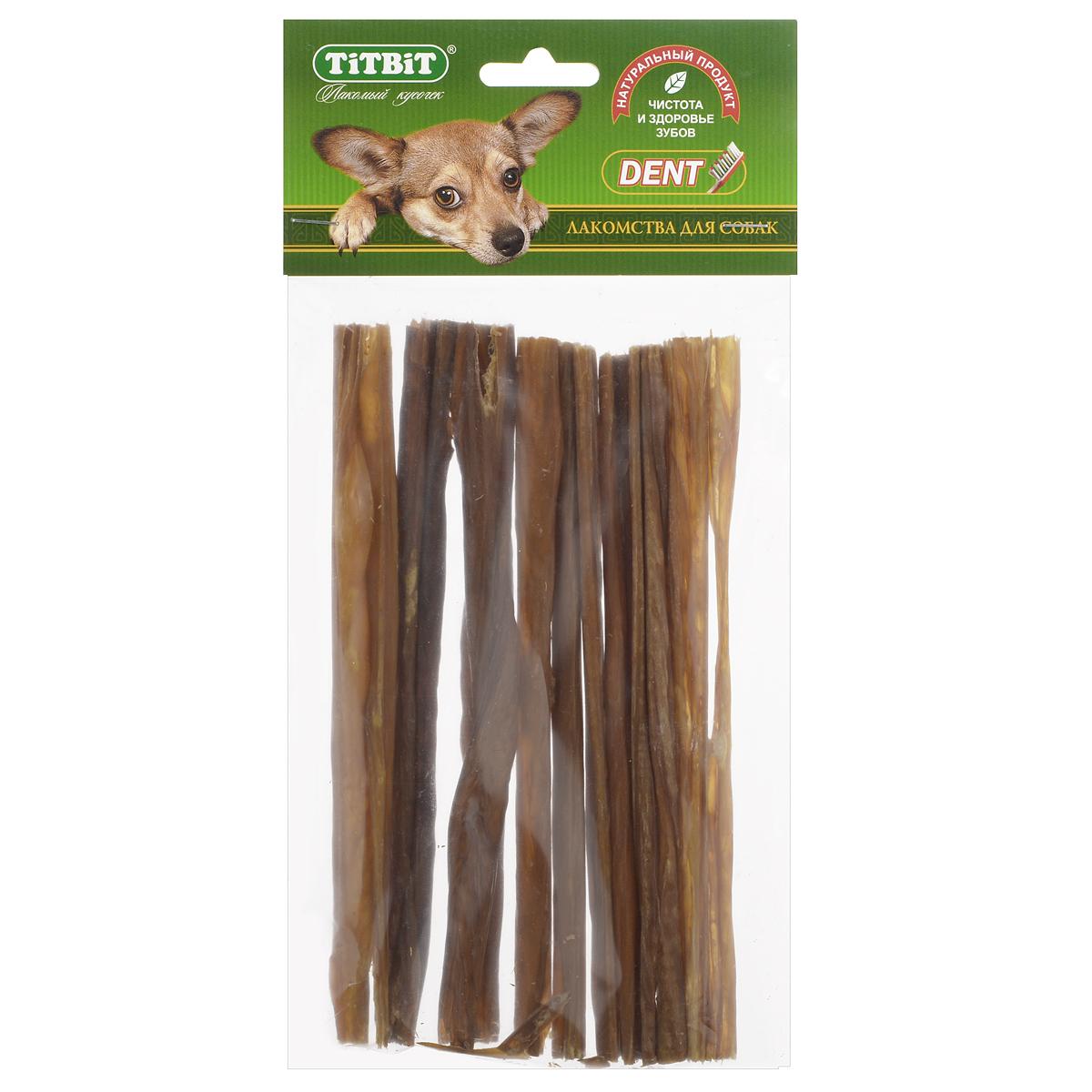Лакомство для собак Titbit, кишки говяжьи, длина 19 см3987Лакомство для собак Titbit изготовлено из высушенных говяжьих кишков. Упаковка содержит 12-16 штук длиной 19 см. Легкоусвояемое лакомство, богатое витаминами и ферментами микрофлоры кишечника крупного рогатого скота. Имеют большую энергетическую ценность из-за повышенного содержания жира. Богаты протеинами, которые содержат все незаменимые аминокислоты и потому усваиваются на 90-95%. Содержат минеральные вещества в большем количестве, чем все остальные продукты (в том числе кальций, магний и фосфор), жирорастворимые витамины, а также водорастворимые витамины. Рекомендации к применению: очищает зубы у мелких пород собак, продукт полезен для стимуляции пищеварения. Рекомендовано для профилактики витаминного и ферментного дефицита у собак всех пород. Кишки - лакомства очень концентрированные, насыщенные ферментами и богатые жиром. Они не предназначены для частого применения (2, максимум 3 раза в неделю при хорошей переносимости, а также в зависимости от рациона собаки). По той же...