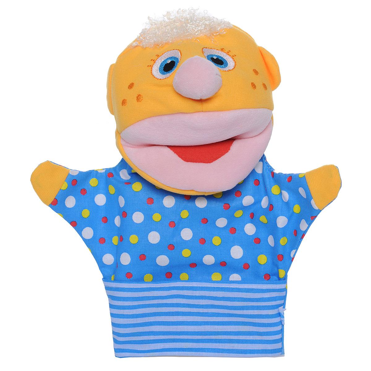 Мягкая игрушка на руку Мякиши Нямлик, 26 см, цвет: желтый, синий202_желтый, синийМягкая игрушка на руку Мякиши Нямлик поднимет настроение и вызовет улыбку не только у ребенка, но и у взрослого. Игрушка выполнена в виде яркого веселого человечка из высококачественной разнофактурной ткани и мягкого наполнителя, что позволяет ей быть абсолютно безопасной в игре. Глазки и веснушки на щечках человечка вышиты нитками. Нямлик может строить забавные рожицы, разговаривать (с вашей помощью, конечно), и станет отличным помощником в деле воспитания и развития малыша. Такая игрушка способствует укреплению мелкой моторики рук ребенка, развитию его речевых способностей и воображения.