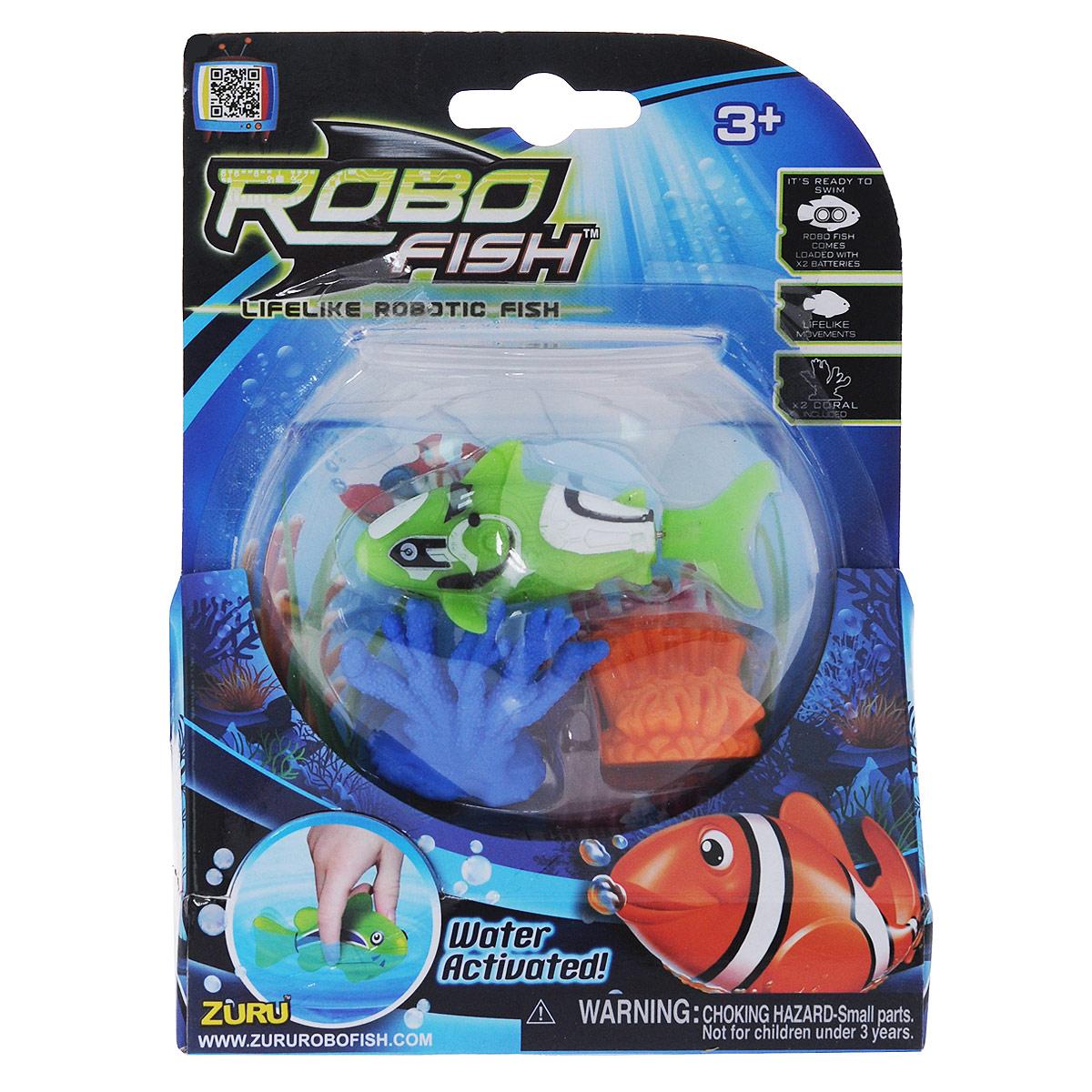 Игрушка для ванны Robofish РобоРыбка с двумя кораллами, цвет: салатовый2538Игрушка для ванны Robofish РобоРыбка с двумя кораллами понравится вашему малышу и превратит купание в веселую игру. Она выполнена из безопасного пластика в виде маленькой красочной рыбки. Игрушка активируется в воде и имитирует движения и повадки рыбы. Электромагнитный мотор позволяет рыбке двигаться в пяти направлениях. При погружении в аквариум или другую емкостью с водой РобоРыбка начинает плавать, опускаясь ко дну и поднимаясь к поверхности воды. Внутри рыбки находится специальный грузик, регулирующий глубину ее погружения. Если рыбка плавает на дне, не всплывая, - уберите грузик; если на поверхности - добавьте грузик. В комплект также входят два элемента в виде ярких кораллов. Порадуйте вашего ребенка таким замечательным подарком! Игрушка работает от 2 батареек напряжением 1,5V типа LR44 (2 установлены в игрушку и 2 запасные).