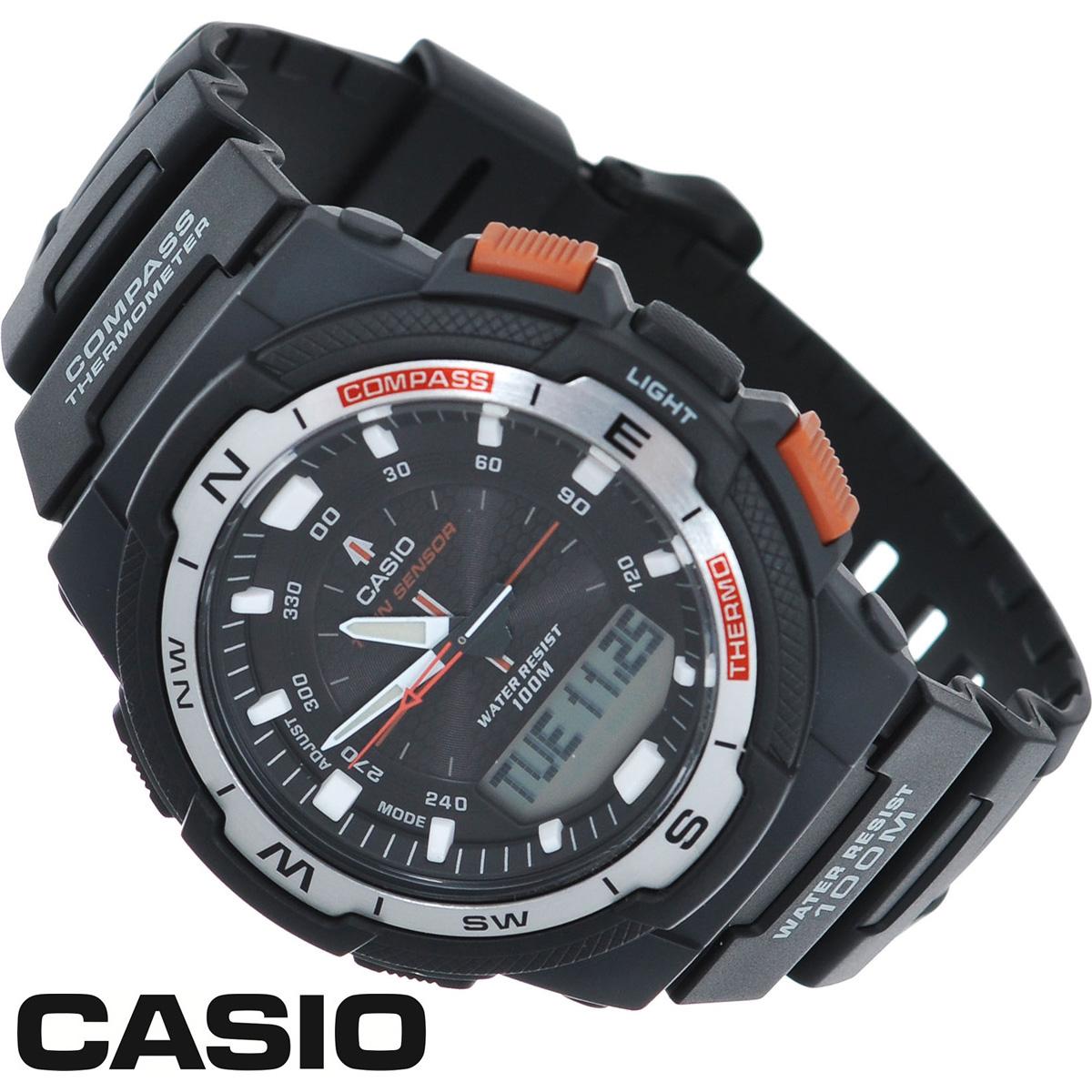 Часы мужские наручные Casio, цвет: черный, оранжевый. SGW-500H-1BSGW-500H-1BСтильные многофункциональные часы от японского брэнда Casio - это яркий функциональный аксессуар для современных людей, которые стремятся выделиться из толпы и подчеркнуть свою индивидуальность. Часы выполнены в спортивном стиле. Электронные часы оснащены японским кварцевым механизмом. Корпус часов изготовлен из пластика и имеет алюминиевый безель. Циферблат оснащен тремя стрелками и подсвечивается светодиодом. Ремешок из пластика имеет классическую застежку. Основные функции: - 5 будильников, ежечасный сигнал; - встроенный датчик температур от -10° до +60°С с точностью 0,1°C; - автоматический календарь (число, месяц, день недели, год); - встроенный цифровой компас; - секундомер с точностью показаний 1/100 с, время измерения 24 ч; - 12-ти и 24-х часовой формат времени; - таймер обратного отсчета от 1 мин до 100 мин; - функция включения/отключения звука; - ...