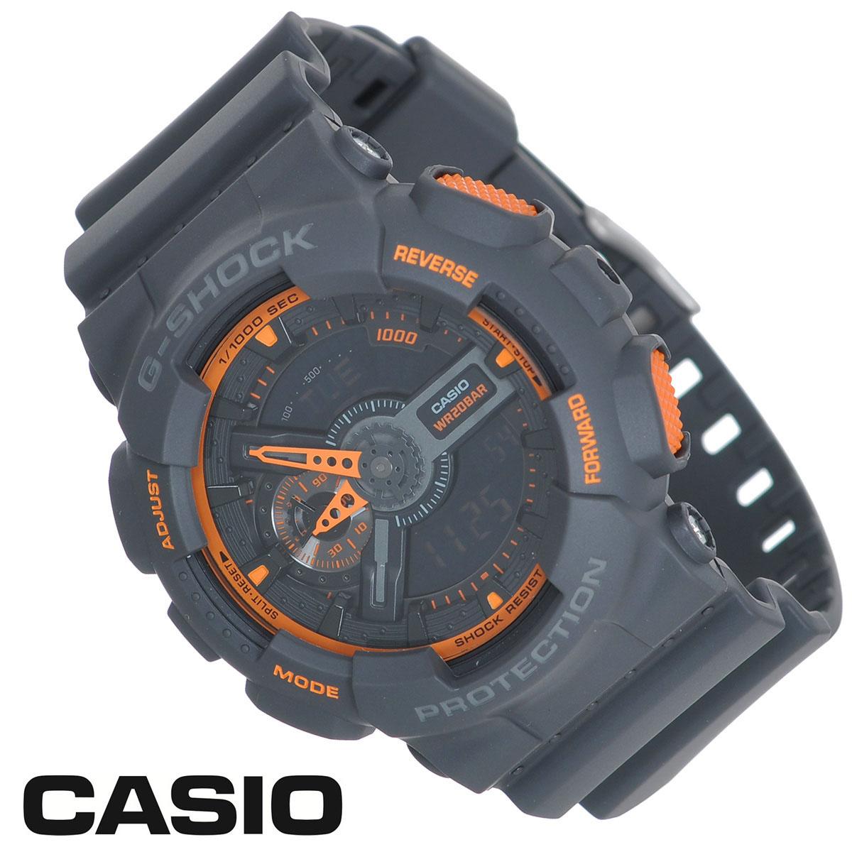 Часы мужские наручные Casio G-Shock, цвет: темно-серый, оранжевый. GA-110TS-1A4GA-110TS-1A4Стильные часы G-Shock от японского брэнда Casio - это яркий функциональный аксессуар для современных людей, которые стремятся выделиться из толпы и подчеркнуть свою индивидуальность. Часы выполнены в спортивном стиле. Корпус имеет ударопрочную конструкцию, защищающую механизм от ударов и вибрации. Циферблат подсвечивается светодиодом, функция автоподсветки освещает циферблат при повороте часов к лицу. Ремешок из мягкого пластика имеет классическую застежку. Основные функции: - 5 будильников, один с функцией повтора сигнала (чтобы отложить пробуждение), ежечасный сигнал; - автоматический календарь (число, месяц, день недели, год); - секундомер с точностью показаний 1/1000 с, время измерения 100 часов; - 12-ти и 24-х часовой формат времени; - таймер обратного отсчета от 1 мин до 24 ч с автоповтором; - измерение скорости и расстояния; - мировое время; - сплит-хронограф; ...