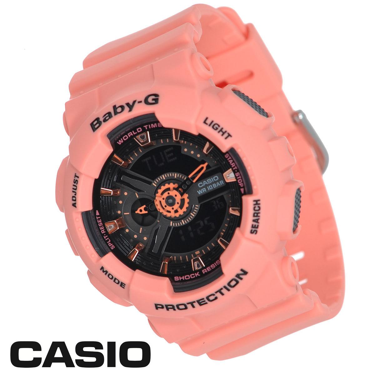 Часы женские наручные Casio Baby-G, цвет: лососевый. BA-111-4A2BA-111-4A2Стильные многофункциональные часы Baby-G от японского брэнда Casio - это яркий функциональный аксессуар для современных людей, которые стремятся выделиться из толпы и подчеркнуть свою индивидуальность. Часы выполнены в спортивном стиле. Часы оснащены японским кварцевым механизмом, имеют ударопрочную конструкцию, защищающую механизм от ударов и вибрации. Циферблат оснащен двумя стрелками и подсвечивается светодиодом. Ремешок из мягкого пластика застегивается на классическую застежку. Основные функции: - 5 будильников, ежечасный сигнал; - сплит-хронограф; - автоматический календарь (число, месяц, день недели, год); - секундомер с точностью показаний 1/100 с, время измерения 24 ч; - 12-ти и 24-х часовой формат времени; - таймер обратного отсчета от 1 мин до 24 ч; - функция включения/отключения звука; - мировое время. Часы упакованы в фирменную коробку с...