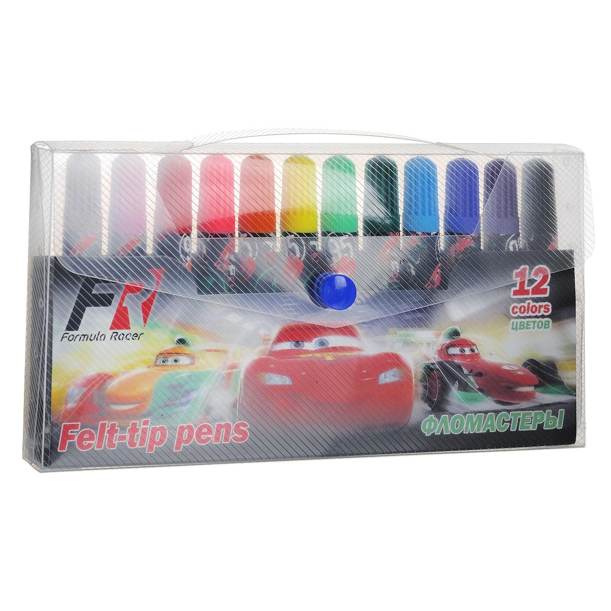 Набор фломастеров Cars, 12 штCRBB-US1-4M-12Фломастеры Cars, предназначенные для рисования и раскрашивания, помогут вашему малышу создать неповторимые яркие картинки. Широкий корпус фломастера, оформленный изображениями персонажей мультфильма Тачки, удобно держать в руке. Набор включает в себя фломастеры 12 ярких насыщенных цветов в разноцветных корпусах (цвет колпачка соответствует цвету чернил). Каждый фломастер оснащен плотным вентилируемым колпачком, надежно защищающим чернила от испарения. Фломастеры упакованы в пластиковый футляр, оснащенный вставкой-держателем для фломастеров. Футляр закрывается на кнопку и снабжен ручкой для переноски. Фломастеры Cars - идеальный инструмент для самовыражения и развития маленького художника!