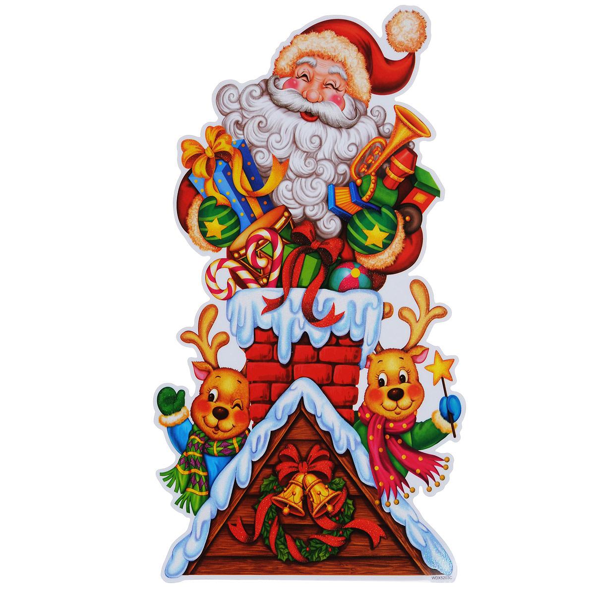 Новогоднее оконное украшение Room Decoration Дед Мороз и оленята, 42 х 24 смWDX5203CНовогоднее оконное украшение Room Decoration Дед Мороз и оленята поможет украсить дом к предстоящим праздникам. На одном листе расположены одна наклейка в виде изображения деда мороза с оленятами. Яркие изображения нанесены на прозрачную виниловую пленку и крепятся к гладкой поверхности стекла посредством статического эффекта. Наклейки декорированы блестками. Наклейки не содержат клея, не оставляют следов и идеальны для многоразового использования. Также имеется инструкция на русском языке. Новогодние украшения всегда несут в себе волшебство и красоту праздника. Создайте в своем доме атмосферу тепла, веселья и радости, украшая его всей семьей. Материал: виниловая пленка. Размер листа: 42 см х 24 см. Размер наклейки: 41,5 см х 22,5 см.