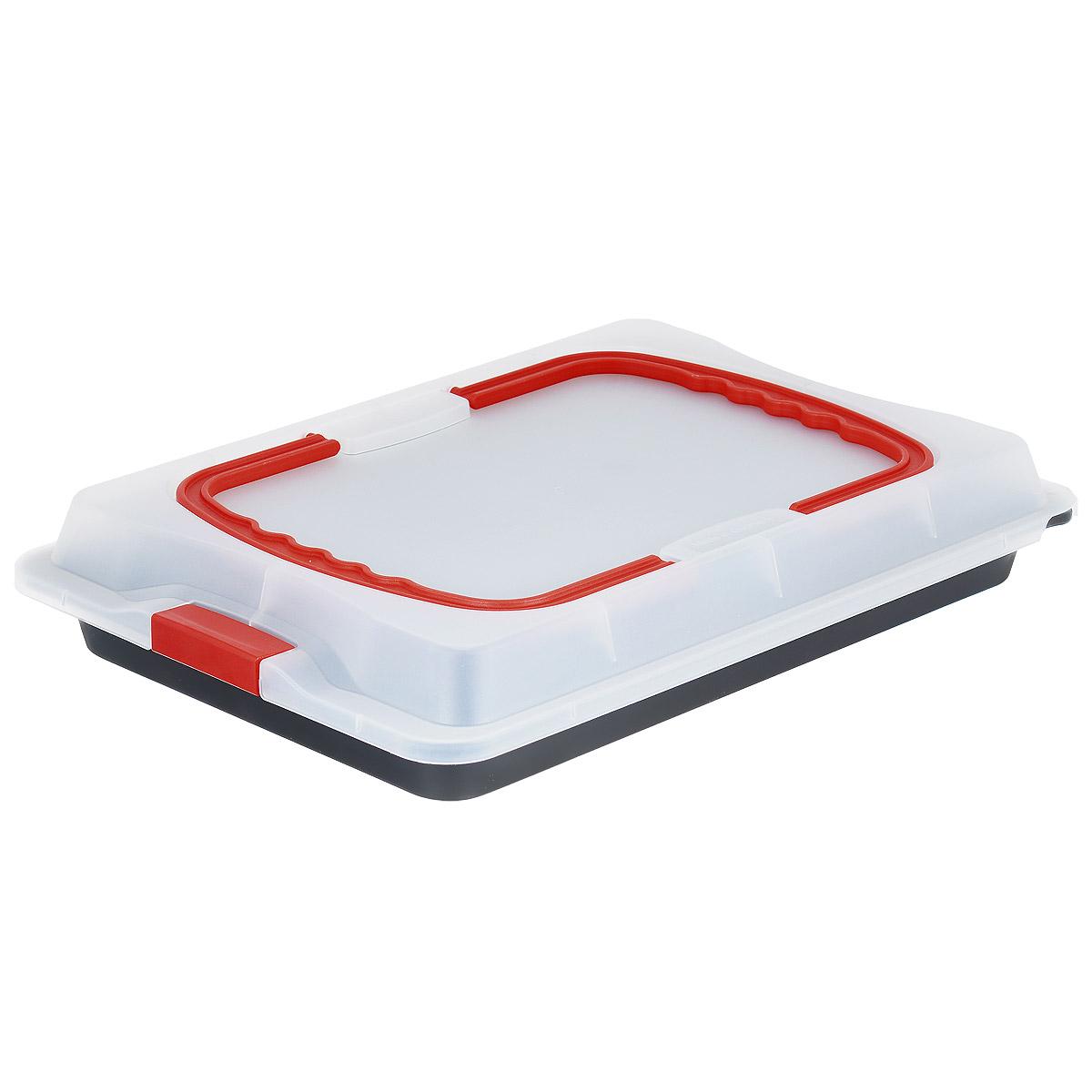 Противень Dr.Oetker Bake&Go с крышкой, с антипригарным покрытием, 29 х 42 см1012Противень Dr.Oetker Bake&Go изготовлен из углеродистой стали с антипригарным покрытием Teflon. Пища не пригорает и не прилипает к стенкам, что облегчает процесс сервировки и мытья. Изделие имеет прямоугольную форму и прекрасно подходит для приготовления запеканок, жаркое, тушения мяса и овощей. Такой противень предназначен для выпечки и переноса кулинарных изделий. Противень оснащен пластиковой прозрачной крышкой, которая плотно закрывается на две защелки и оснащена двумя ручками. Можно мыть в посудомоечной машине и использовать в духовом шкафу. Противень выдерживает температуру до 230°C.