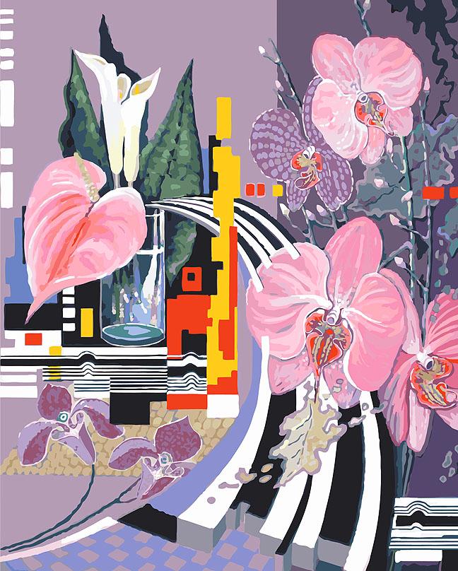 """Живопись на холсте """"Композиция с орхидеями"""", 40 см х 50 см ( 927-AB )"""