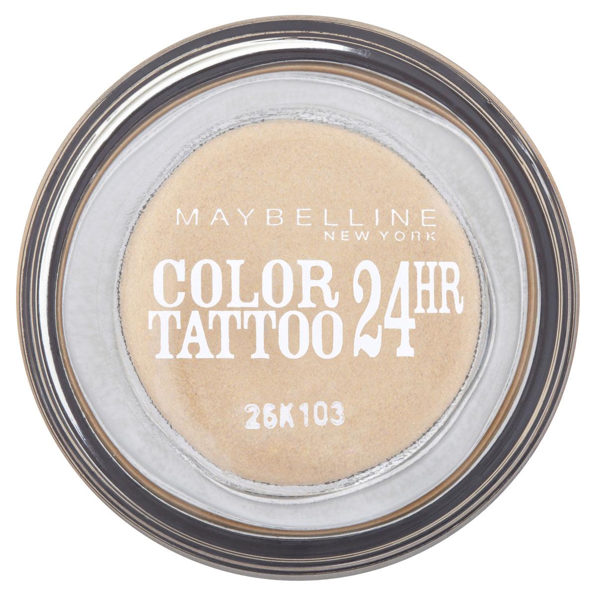 Maybelline New York Тени для век Color Tattoo 24 часа, оттенок 05, Вечное золото, 4 млB1949000Осмелься на ультраяркий, самый стойкий цвет! Супернасыщенные крем-гелевые тени с технологией тату-пигментов. Насыщенные, устойчивые тени Maybelline Color Tattoo 24 часа предназначены для дневного и вечернего макияжа. Тени словно татуировка надежно закрепляются на коже, не боятся влаги, не скатываются и не размазываются, даже если потереть глаза рукой. Товар сертифицирован.