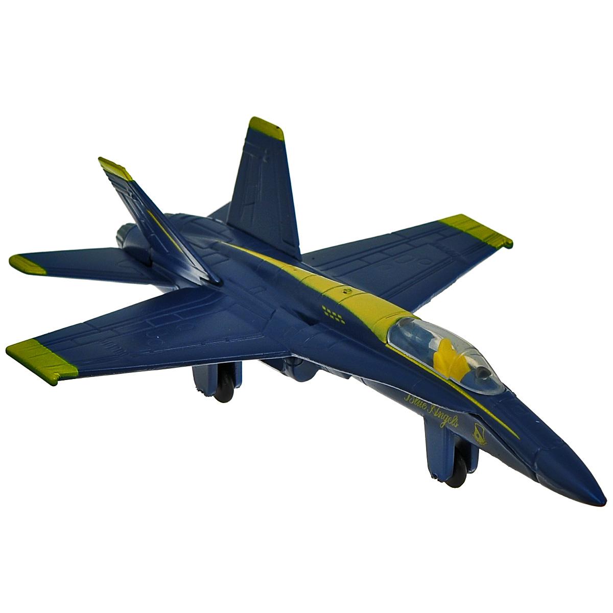 Модель самолета MotorMax Boeing F/A-18 Hornet, цвет: синий, желтый. Масштаб 1/10077006/ast77300Модель самолета MotorMax Boeing F/A-18 Hornet станет хорошим подарком для ребенка, который увлекается авиацией. Она имеет отличную детализацию и является уменьшенной копией настоящего американского самолета. Компания Motormax занимается производством масштабных моделей с 1997 года и завоевала популярность целой армии коллекционеров по всему миру. Серия самолетов масштаба 1:100 познакомит вас с продуктами авиационной промышленности разных стран. Вы познакомитесь с самолетами самых разных типов и эпох, среди них истребитель Локхид Мартин Ф-16 и палубный истребитель- бомбардировщик Боинг F/А 18 Хорнет, транспортный самолет времен второй мировой войны Боинг С-47 Скайтрейн и американский бомбардировщик P-47 Тандерболт, а также многие другие, не менее интересные экземпляры. Палубный истребитель-бомбардировщик F/A-18 Хорнет на сегодняшний день является одним из самых удачных современных боевых самолетов и основным боевым самолетом авиации ВМС США. Самолеты...