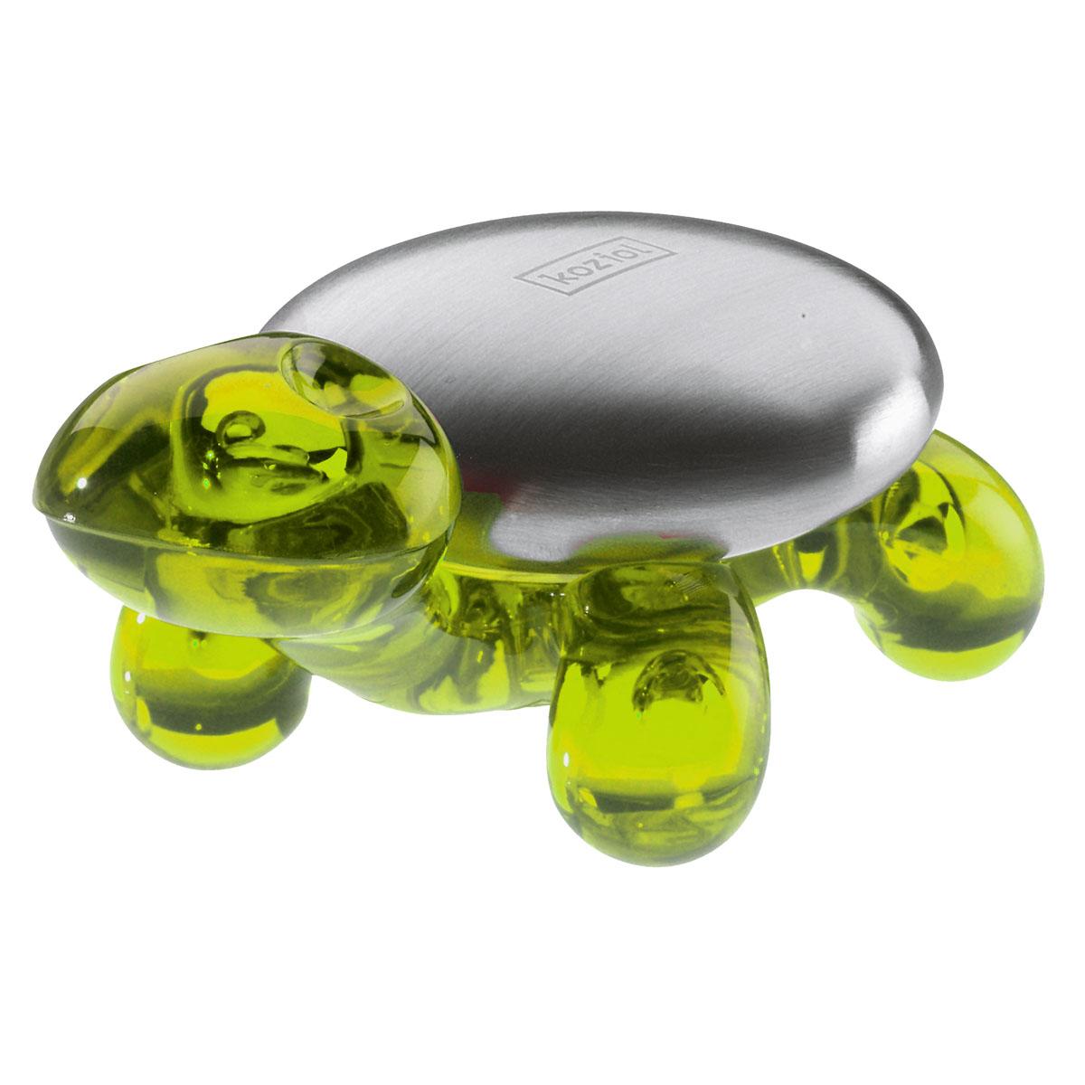 Металлическое мыло AMANDA Koziol, оливковый004.120500.007Металлический кусок мыла на изящной подставке в виде черепахи избавляет руки от неприятного запаха чеснока или лука. При контакте с водой металл мгновенно нейтрализует и устраняет неприятный запах.