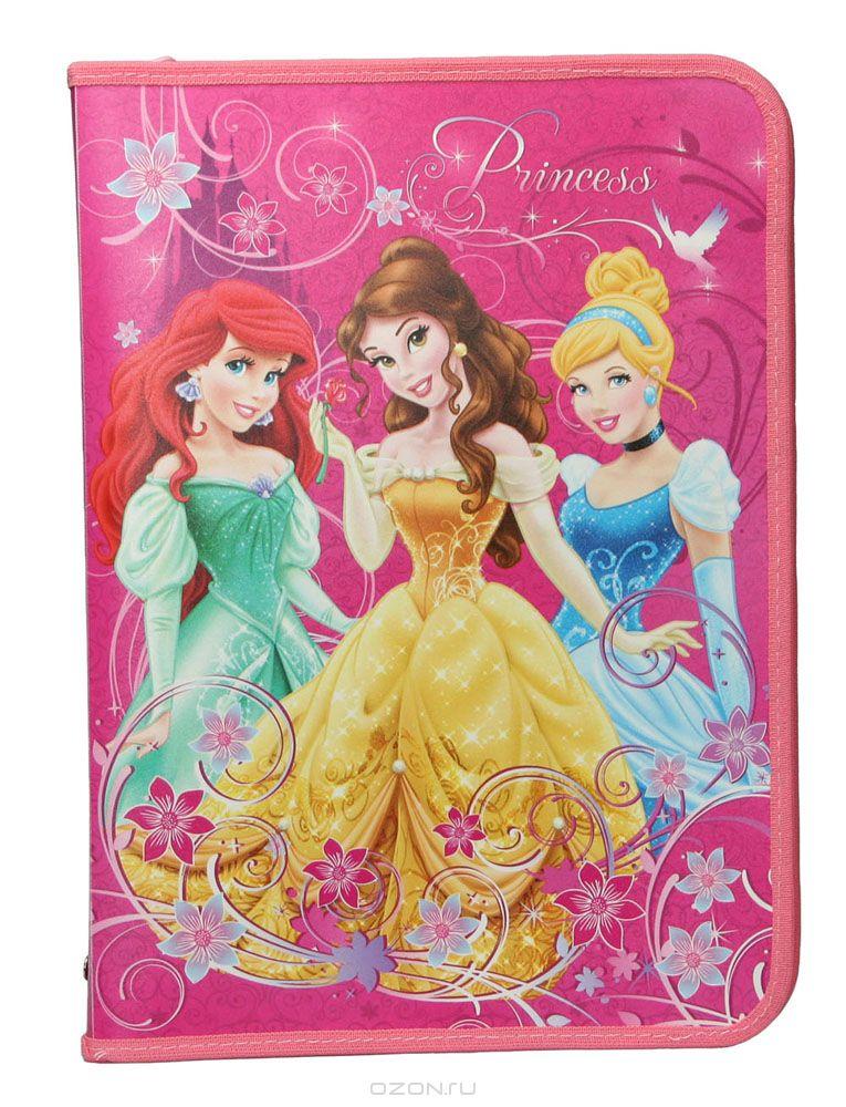 Папка для труда Disney Princess, цвет: малиновый. Формат А4PRBB-US1-PTRA4Папка для труда Disney Princess предназначена для хранения тетрадей, рисунков и прочих бумаг формата А4, а также ручек, карандашей, ластиков и точилок. Внутри находится одно большое отделение с вкладышем, содержащим 10 фиксаторов для школьных принадлежностей и фиксатор для тетрадей. Папка выполнена из прочного полипропилена и оформлена изображениями Белль, Золушки и Русалочки - героинь диснеевских мультфильмов. Надежная застежка-молния вокруг папки обеспечивает максимальный комфорт в использовании изделия, позволяя быстро открыть и закрыть папку.