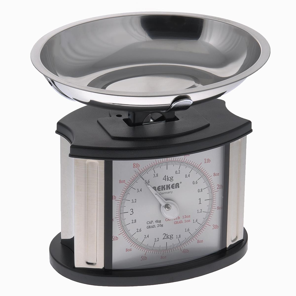 Весы кухонные механические Bekker Koch, до 4 кгBK-9106Механические кухонные весы Bekker Koch, выполненные из высокопрочного пластика и металла, с большой, хорошо читаемой шкалой и съемной чашей, придутся по душе каждой хозяйке и станут незаменимым аксессуаром на кухне. На шкале присутствуют несколько единиц измерения. Красная шкала обозначает унции и фунты, а черная - килограммы и граммы. В комплекте - чаша из нержавеющей стали. Вам больше не придется использовать продукты на глаз. Весы Bekker Koch позволят вам с высокой точностью дозировать продукты, следуя вашим любимым рецептам. Размер весов (без чаши): 18 см х 13 см х 18,5 см. Объем чаши: 1 л. Размер чаши: 23,5 см х 18,5 см х 4 см.