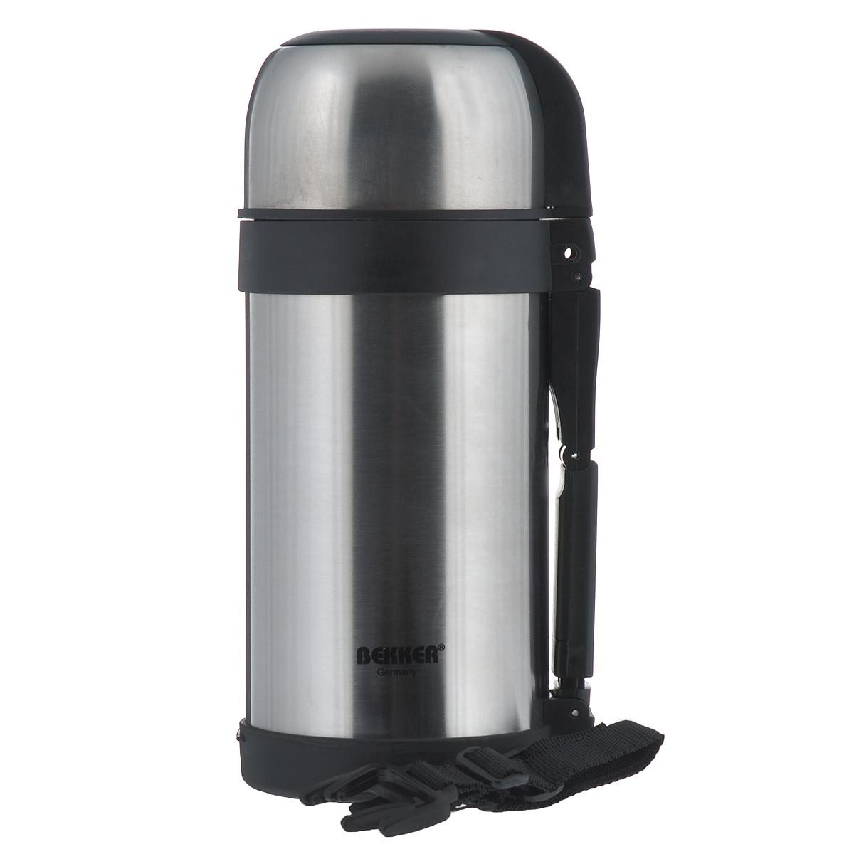 Термос Bekker с широким горлом, 1,2 лBK-77Термос с широким горлом Bekker, изготовленный из высококачественной нержавеющей стали 18/8. Двойные стенки обеспечивают долгое сохранение температуры напитка (6 часов - 75°С, 12 часов - 66°С, до 24 часов - 48°С). Подходит для напитков и для пищи. Благодаря вакуумной кнопке внутри создается абсолютная герметичность, что предотвращает проливание напитков. Крышка плотно закручивается. Верхнюю крышку можно использовать в качестве чаши для напитка. Имеется удобная ручка и съемный ремень. Стильный функциональный термос будет незаменим в дороге, на пикнике. Его можно взять с собой куда угодно, и вы всегда сможете наслаждаться горячим домашним напитком или пищей.