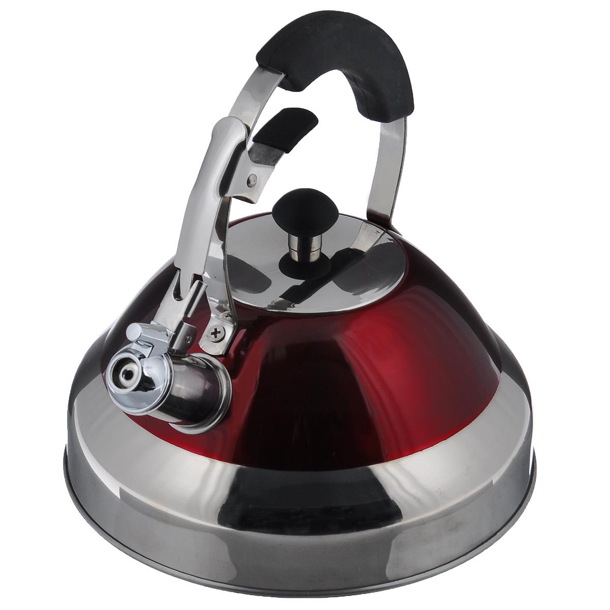 Чайник Bekker De Luxe со свистком, цвет: красный, 2,7 л. BK-S423BK-S423Чайник Bekker De Luxe выполнен из высококачественной нержавеющей стали, что обеспечивает долговечность использования. Внешнее цветное эмалевое покрытие придает приятный внешний вид. Металлическая фиксированная ручка с силиконовым покрытием делает использование чайника очень удобным и безопасным. Чайник снабжен свистком и устройством для открывания носика. Изделие оснащено капсулированным дном для лучшего распространения тепла. Можно мыть в посудомоечной машине. Пригоден для всех видов плит кроме индукционных.