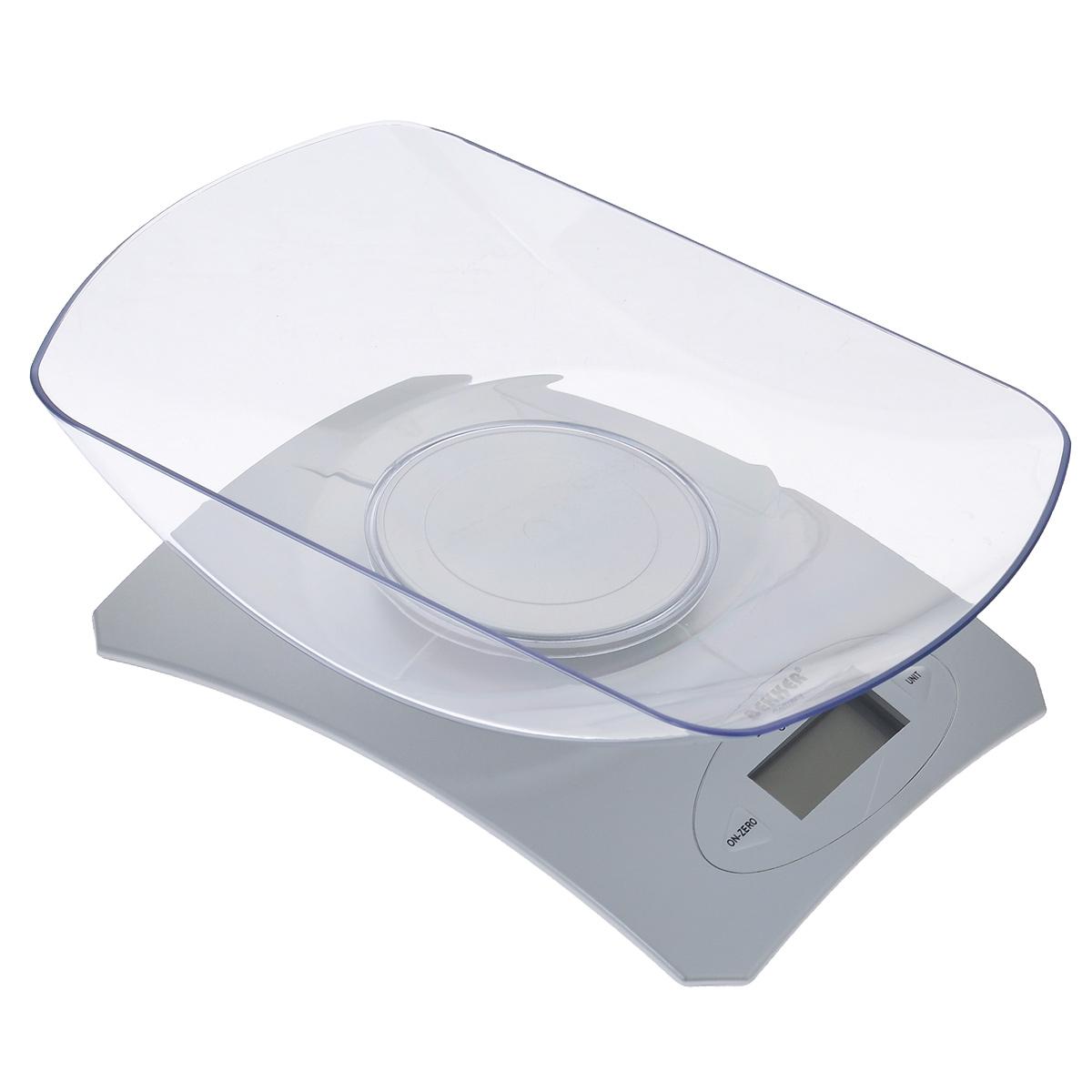 Весы кухонные Bekker, электронные, до 5 кгBK-9103Электронные кухонные весы Bekker придутся по душе каждой хозяйке и станут незаменимым аксессуаром на кухне. Корпус весов выполнен из пластика с цифровым ЖК-дисплеем. Весы выдерживают до 5 килограмм и оснащены высокоточной сенсорной измерительной системой и функцией дополнительного взвешивания. С помощью таких электронных весов можно точно контролировать пропорции ингредиентов. УВАЖАЕМЫЕ КЛИЕНТЫ! Обращаем ваше внимание, что весы работают от одной литиевой батарейки CR2032 напряжением 3V (входит в комплект). Объем чаши: 1300 мл.