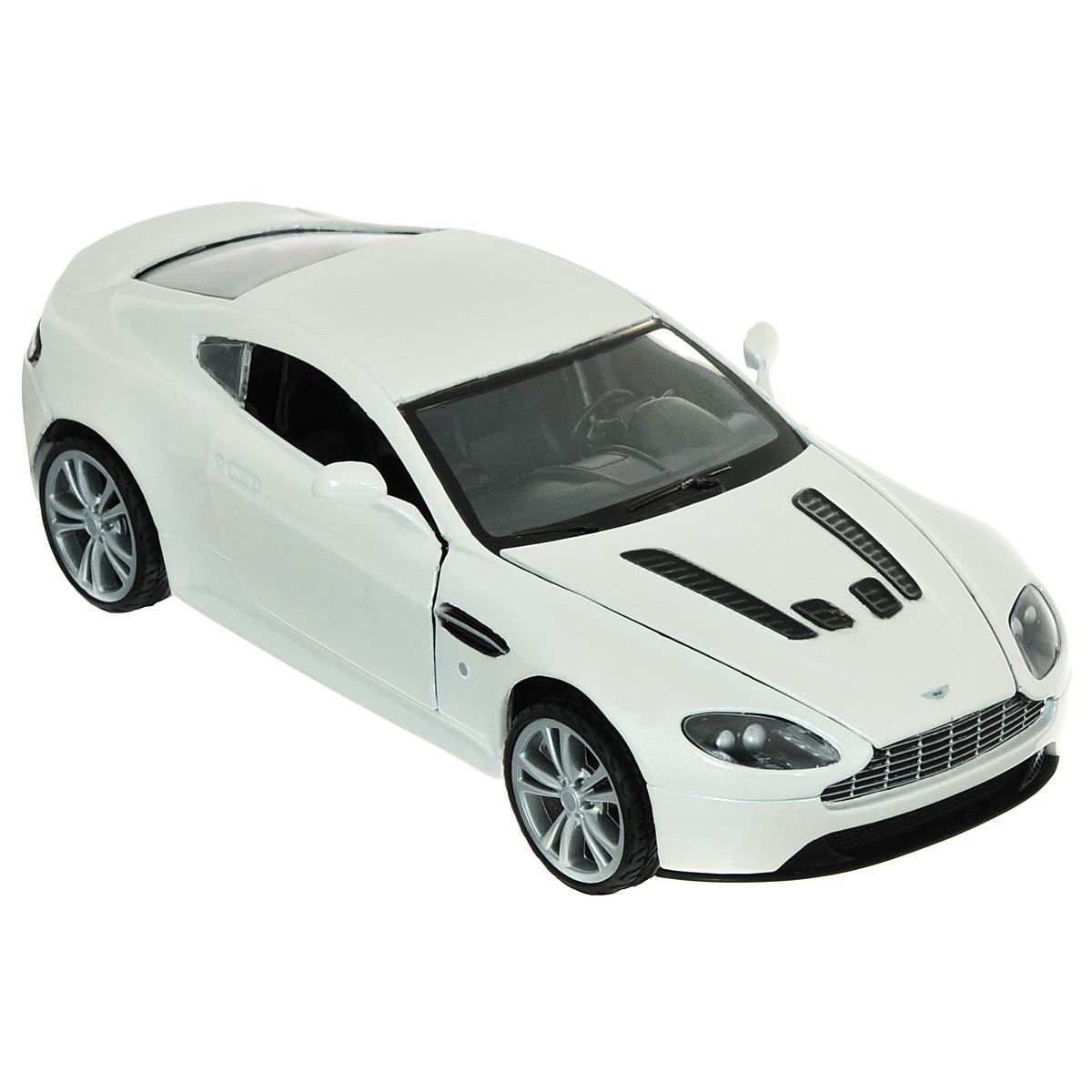 MotorMax Модель автомобиля Aston Martin V12 Vantagewhite/ast73357Коллекционная модель MotorMax Aston Martin V12 Vantage станет хорошим подарком для любого ценителя автомобилей. Aston Martin V12 Vantage - это сдержанная роскошь. Впечатляющий, мощный, спортивный и невероятно дорогой, этот автомобиль покорил сердца многих автолюбителей. Если вы причисляете себя к поклонникам Aston Martin или хотите сделать подарок его любителю, нет ничего лучше, чем масштабная модель от MotorMax, которая выглядит точь-в-точь как настоящий авто. Несомненное достоинство модели - отлитый из металла корпус, обеспечивающий предельно долгий срок службы. Он декорирован пластиком (салон и другие элементы), а на колесах этой мини-копии Aston Martin резиновые шины. Создатели модели с высокой точностью воспроизвели все особенности настоящего авто, включая детали интерьера и моторного отсека. Вы можете убедиться в этом самостоятельно, открыв двери и капот авто. Помимо открывающихся деталей, у машины поворачиваются колеса.