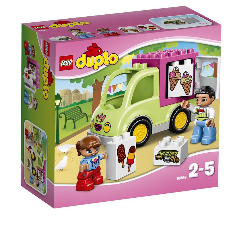 LEGO DUPLO Конструктор Фургон с мороженым 1058610586Выберите вкусное угощение из фургона с мороженым. Соберите фургон и помогите продавцу объехать территорию в поисках покупателей. Заплатите раскрашенными кубиками и наслаждайтесь мороженым и фруктовым льдом! Этот красочный игровой набор содержит 11 пластиковых элементов для сборки, 2 фигурки и инструкцию по сборке. Конструктор - это один из самых увлекательнейших и веселых способов времяпрепровождения. Ребенок сможет часами играть с конструктором, придумывая различные ситуации и истории. В процессе игры с конструкторами LEGO дети приобретают и постигают такие необходимые навыки как познание, творчество, воображение. Обычные наблюдения за детьми показывают, что единственное, чему они с удовольствием посвящают время - это игры. Игра - это состояние души, это веселый опыт познания реальности. Играя, дети создают собственные миры, осваивают их, восстанавливают прошедшие и будущие события через понарошку, а, познавая, приобретают знания и умения. Фантазия ребенка...