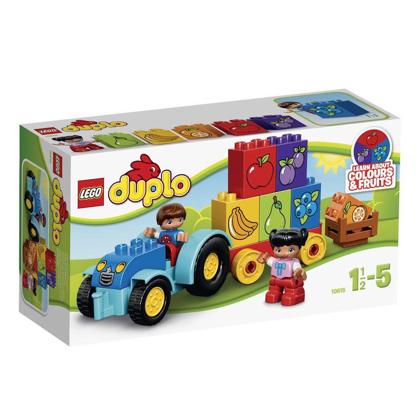 LEGO DUPLO Конструктор Мой первый трактор 1061510615Изучайте цвета и фрукты во время веселой игры с набором LEGO DUPLO Мой первый трактор. Соберите трактор, потом сложите в него фрукты и отвезите на рынок! В набор входят 2 мини-фигурки: мальчик и девочка. Этот набор предназначен для самых юных конструкторов. Его детали выполнены из высококачественного прочного пластика, стойкого к броскам и ударам. Все элементы имеют безопасную закруглённую форму, которая подойдёт даже для маленьких ручек полуторагодовалого малыша. Используя двух героев, входящих в комплект, ребёнок сможет самостоятельно разыграть весёлые сценки, посвящённые сбору урожая, а также научиться складывать кубики друг на друга, заполняя кузов грузовика. В наборе присутствует 6 кубиков с изображением ягод и фруктов. Их цвет соответствует цветам плодов, что позволит ребёнку быстро запомнить их названия. Конструктор - это один из самых увлекательнейших и веселых способов времяпрепровождения. Ребенок сможет часами играть с конструктором, придумывая различные...