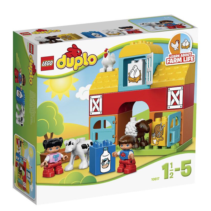 LEGO DUPLO Конструктор Моя первая ферма 1061710617Загородная ферма представляет собой небольшой, но устойчивый домик, в котором бок о бок живут домашние животные. На первом этаже устроены два хлева с открывающимися голубыми дверями и кормушками. В них обитают корова и овечка. На втором этаже фермы предусмотрен склад для хранения сена. Его стены выкрашены в красный цвет, а створчатые окошки всегда закрыты. На чердаке организован курятник. В нём есть соломенный насест для белой курочки и её будущих цыплят. Изучайте деревенских животных и знакомьтесь с жизнью за городом с набором LEGO Duplo Моя первая ферма! Расскажите малышу про овечку, курочку и теленка. При помощи этого яркого, простого в сборке набора и красочных кубиков, ваш ребенок узнает о том, какие продукты получают благодаря этим животным, какие звуки они издают и в каких домиках живут. Чтобы получить еще больше удовольствия от игры, соедините набор Моя первая ферма с набором 10615 Мой первый трактор. В набор входят овечка, теленок, курочка и 2 фигурки LEGO...