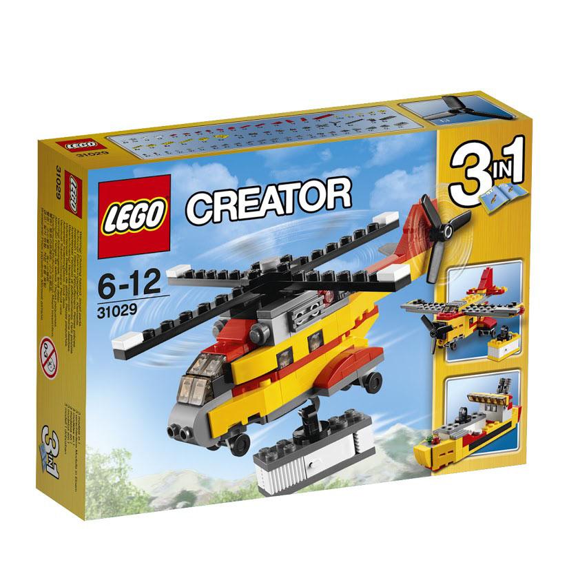LEGO Creator Конструктор Грузовой вертолет 3102931029Перевозите по воздуху тяжелые грузы на мощном грузовом вертолете! Рулите на вертолетную площадку и готовьтесь к взлету. Набрав высоту, зависните в нужном положении, опустите крюк лебедки и осторожно поднимите грузовой контейнер. Теперь можете доставить груз! Корпус грузового вертолета выполнен из желто-красных деталей. В носовой части располагается кабина пилота с тонированным ветровым стеклом. Центральное место фюзеляжа отведено под багажный отсек с прозрачными иллюминаторами. Под днищем вертолета есть шасси и крюк для транспортировки дополнительного контейнера с открывающимися дверцами. Несущий винт, обеспечивающий максимальную подъемную силу, имеет четыре лопасти, а хвостовой трехлопастной винт выполняет функции руля. При желании грузовой вертолет можно переделать в грузовой самолет или танкер. Конструктор - это один из самых увлекательнейших и веселых способов времяпрепровождения. Ребенок сможет часами играть с конструктором, придумывая различные ситуации и...