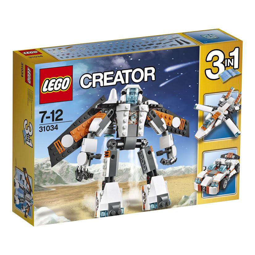 LEGO Creator Конструктор Летающий робот 3103431034Вперед в будущее с потрясающим роботом! Этот робот готов к действию и отличается потрясающей футуристической оранжево-бело-черный окраской, большой головой с единственным сверлящим синим глазом, съемным ранцем со складными крыльями и съемными ракетными ускорителями. А еще у него большие ступни со встроенными ракетными ускорителями, темные металлические пальцы, бронированные наплечники и очень гибкие многошарнирные суставы. Взлетай в небо при помощи мощного ракетного ранца, молнией прорвись сквозь атмосферу, приземлись и переделай робота в футуристический реактивный самолет с крыльями изменяемой геометрии или в высокотехнологичный спортивный автомобиль. Вот он - опыт в высокотехнологичной области три в одном! Этот красочный игровой набор содержит 237 пластиковых элементов для сборки и инструкцию по сборке. Конструктор - это один из самых увлекательнейших и веселых способов времяпрепровождения. Ребенок сможет часами играть с конструктором, придумывая различные ситуации и...